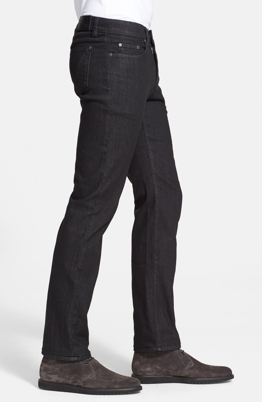 Alternate Image 3  - Z Zegna Slim Straight Leg Jeans (Black Solid)