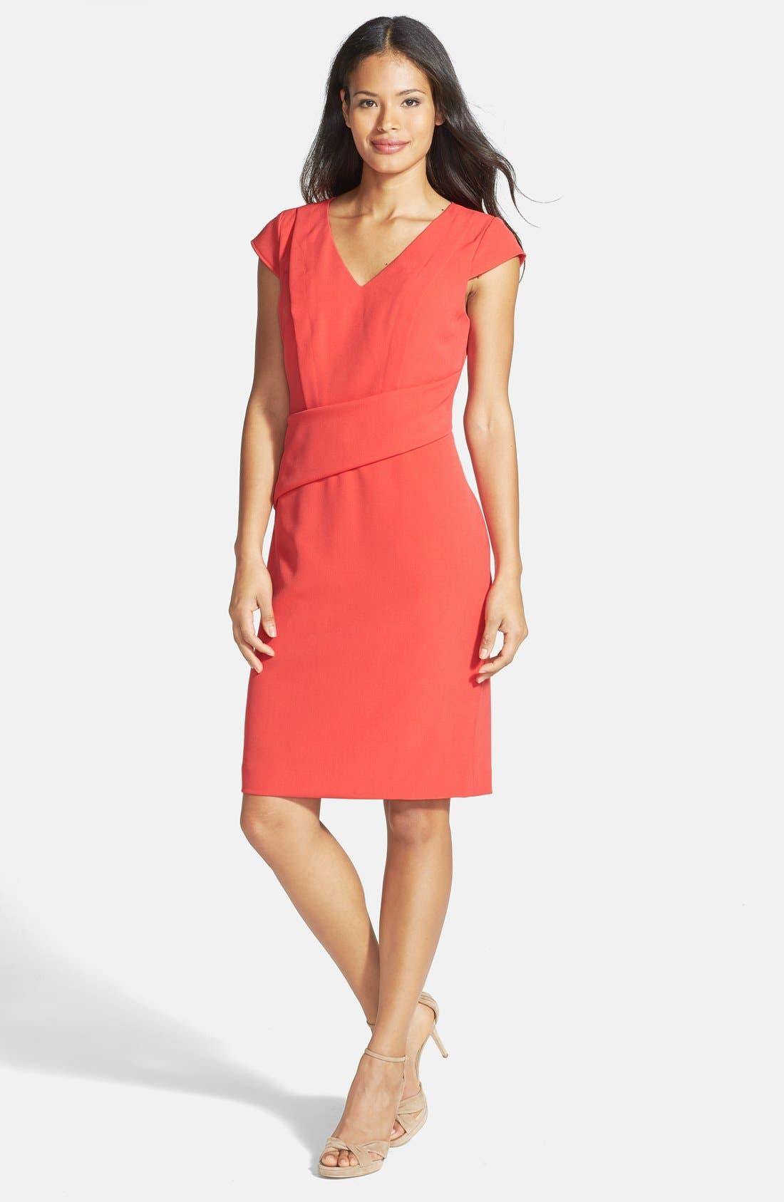 Asymmetric Waist Stretch Crepe Sheath Dress,                             Main thumbnail 1, color,                             Cayenne