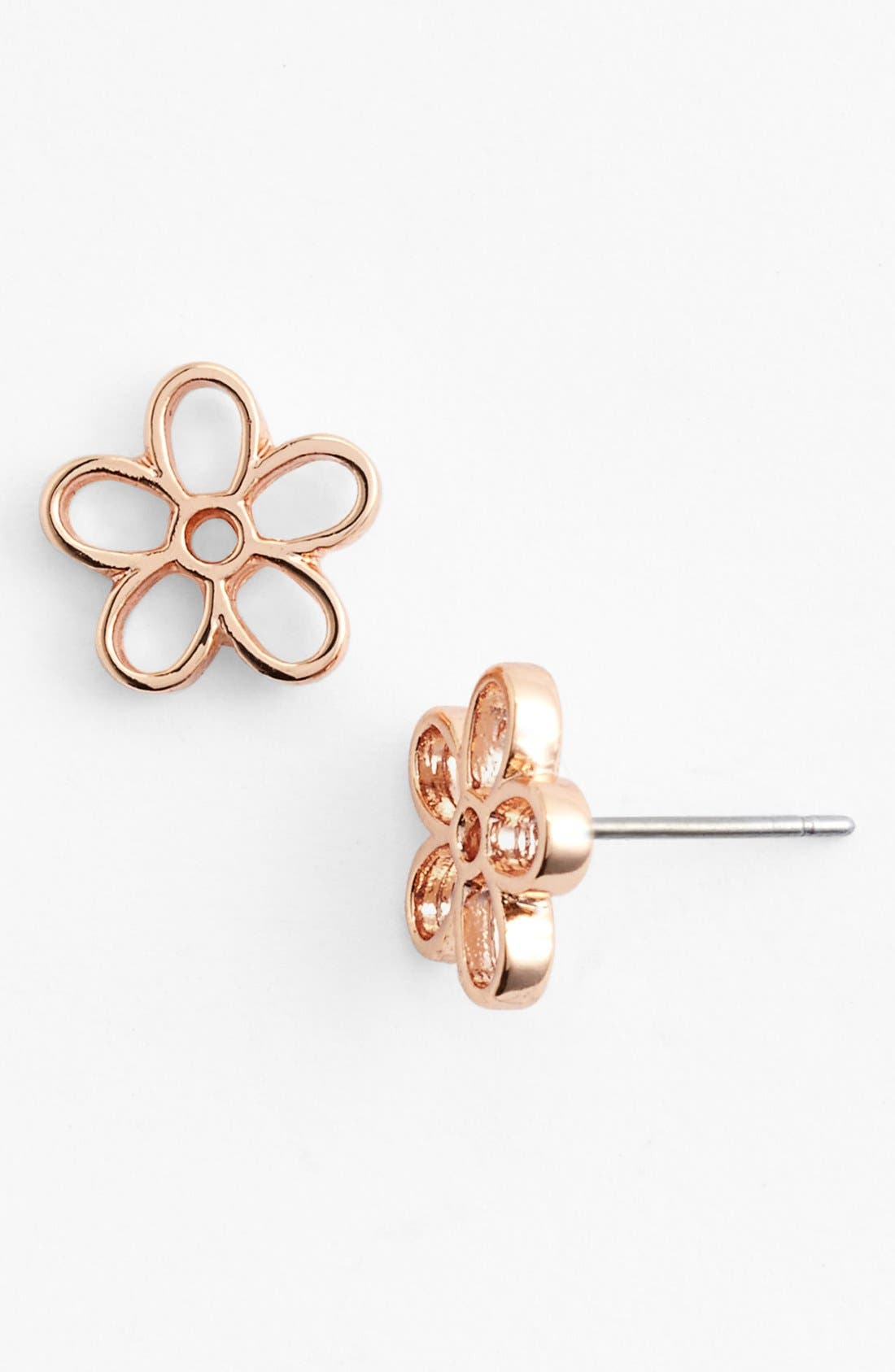 Daisy Stud Earrings,                         Main,                         color, Rose Gold