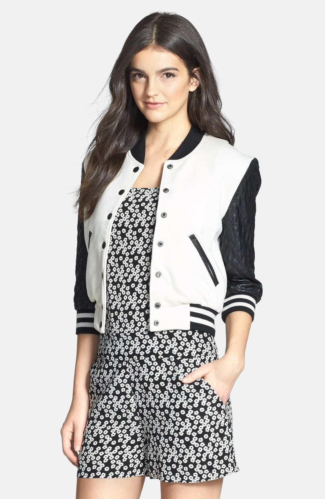 Alternate Image 1 Selected - Pam & Gela Quilted Faux Leather Bomber Jacket