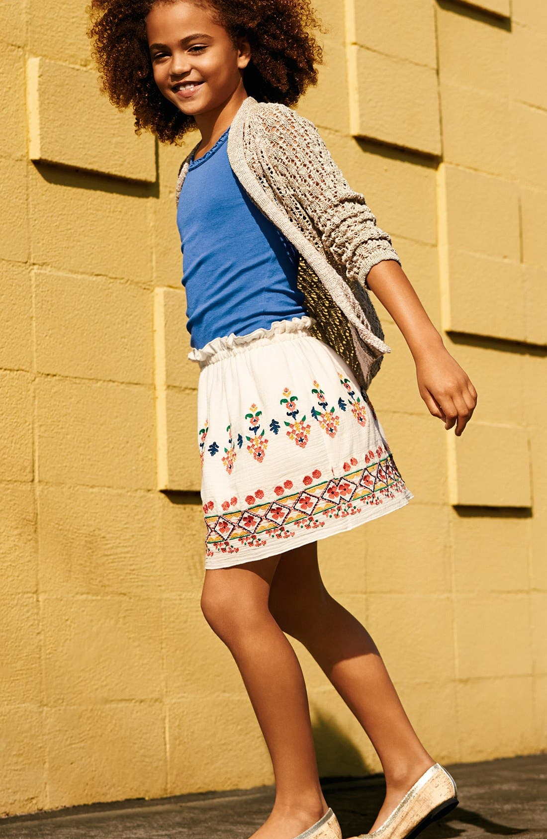 Main Image - Peek Cardigan, Tank Top & Embroidered Skirt (Toddler Girls, Little Girls & Big Girls)