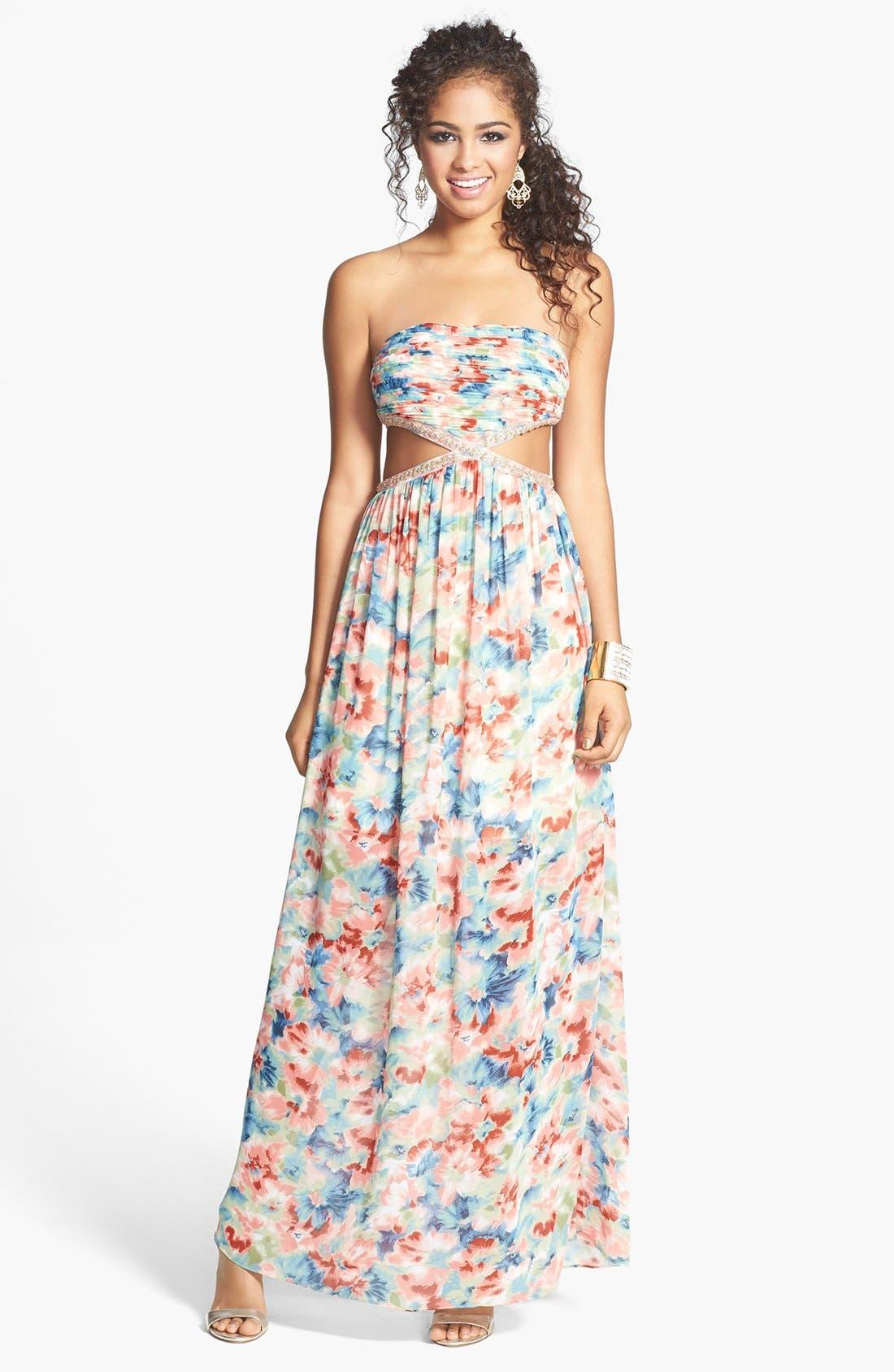 Main Image - a. drea Floral Cutout Gown (Juniors)