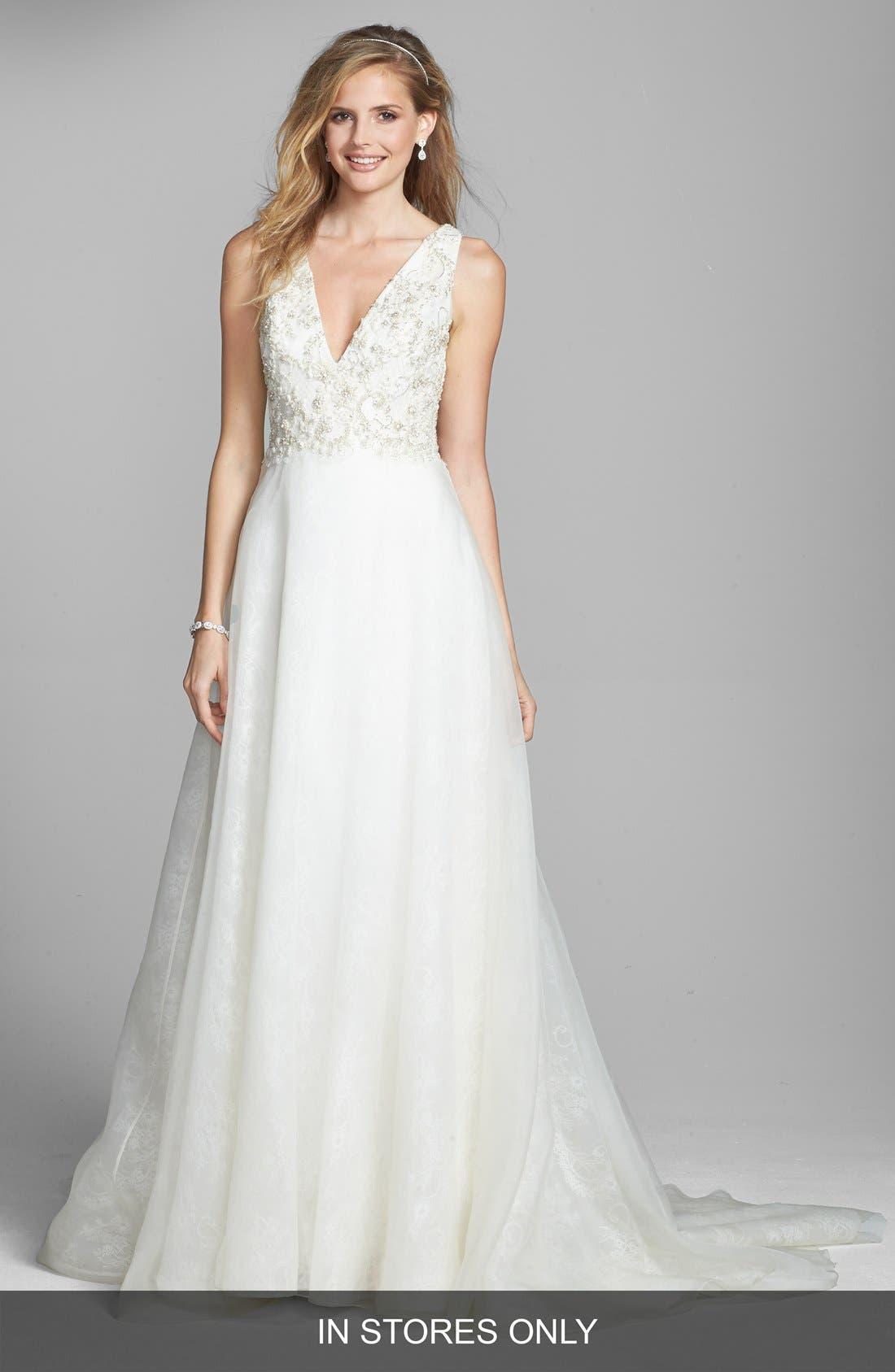Alternate Image 1 Selected - Badgley Mischka Bridal 'Lana' Embellished Silk Organza Dress (In Stores Only)