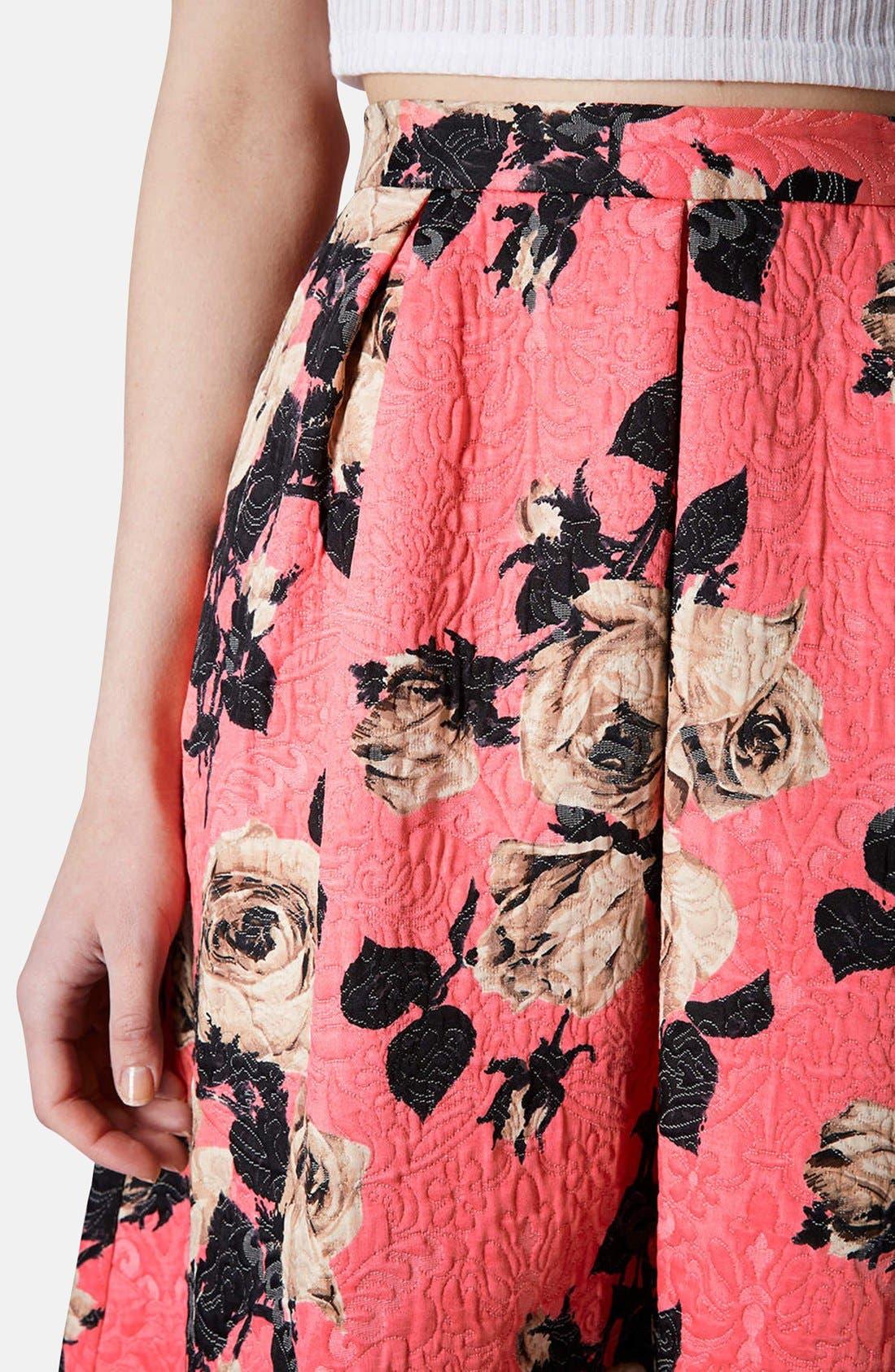 Alternate Image 4  - Topshop Textured Rose Print Midi Skirt