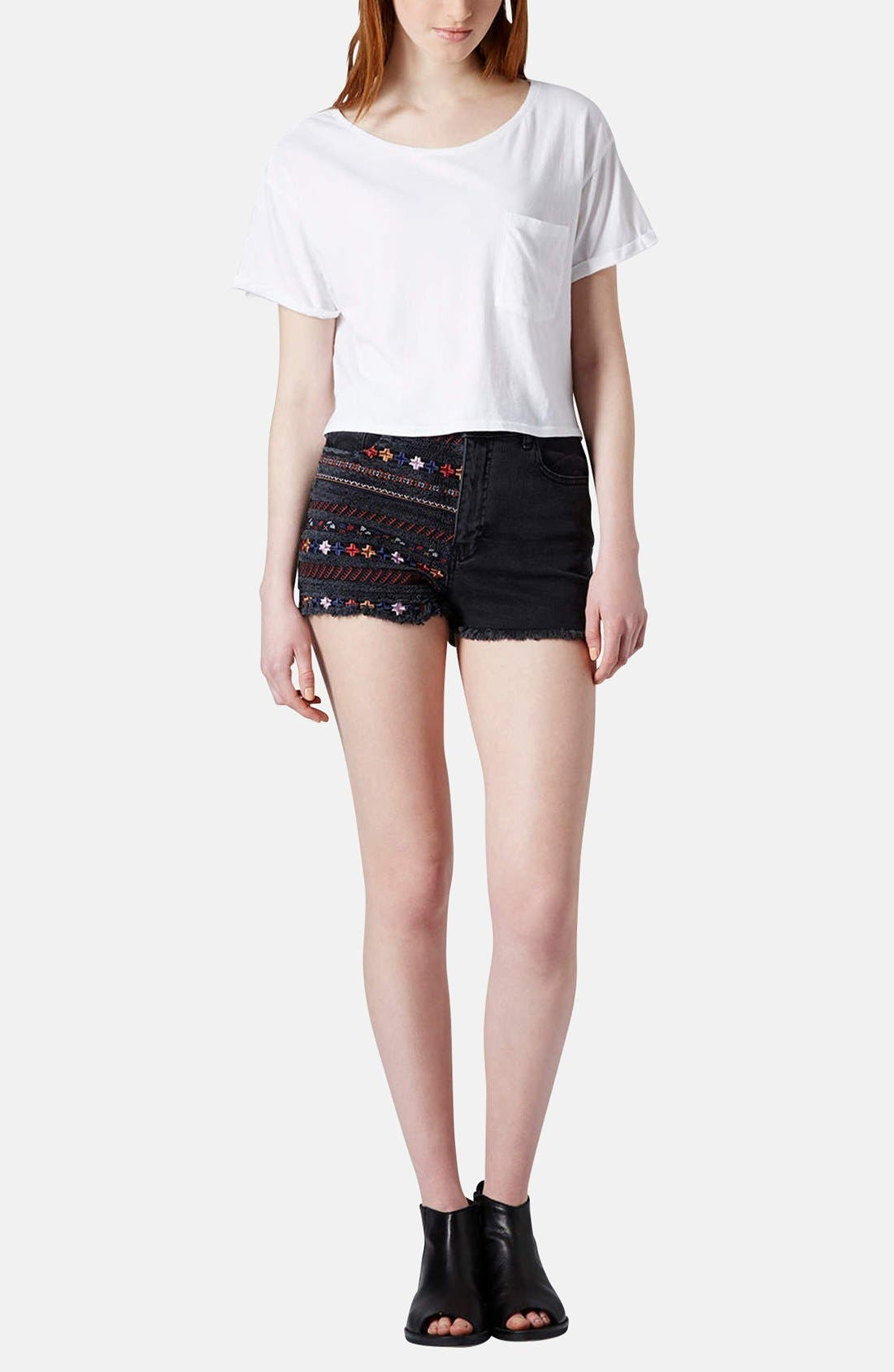 Alternate Image 5  - Topshop Moto Embroidered Denim Cutoff Shorts