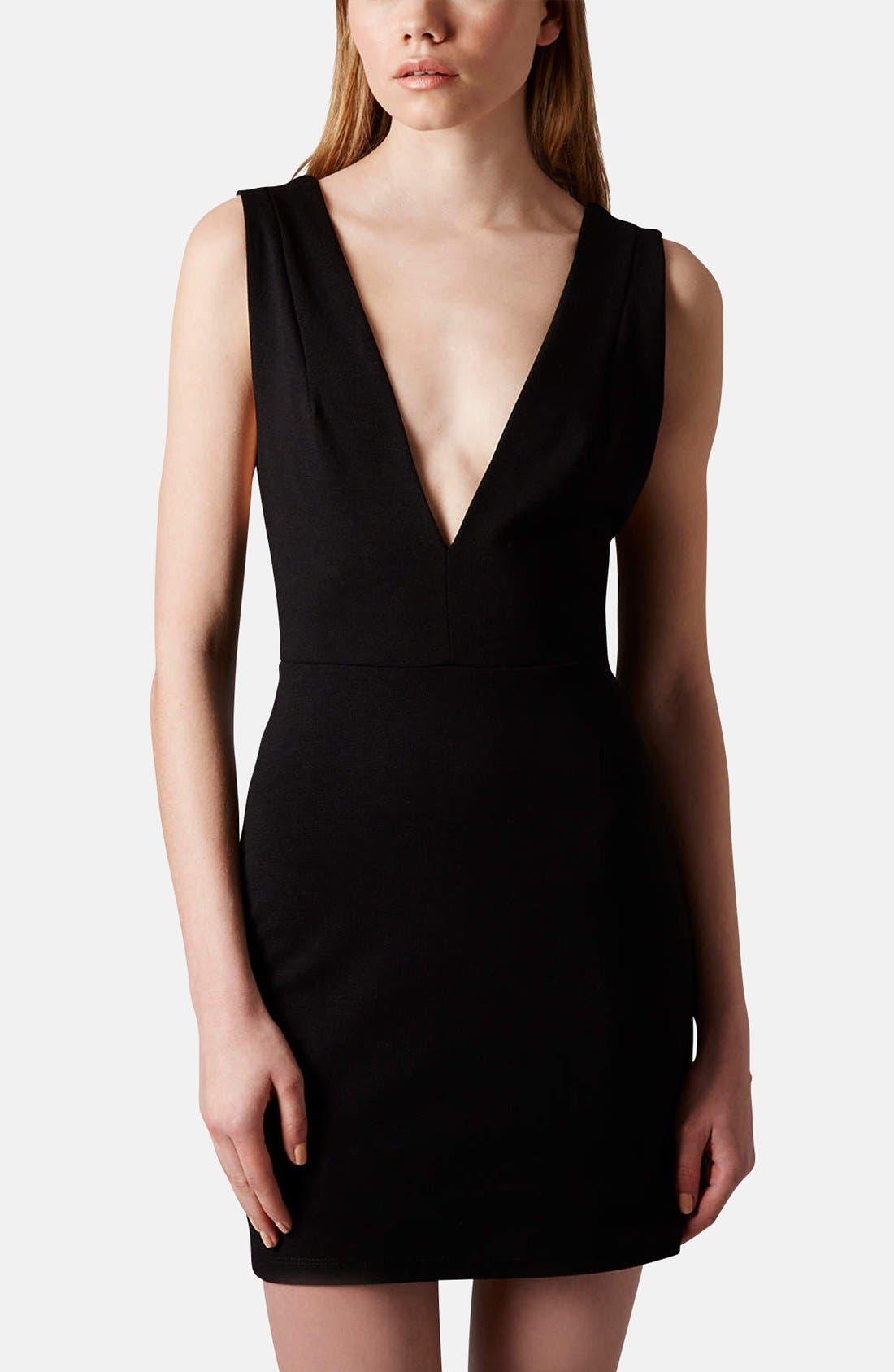 Main Image - Topshop Deep-V Jersey Body-Con Dress