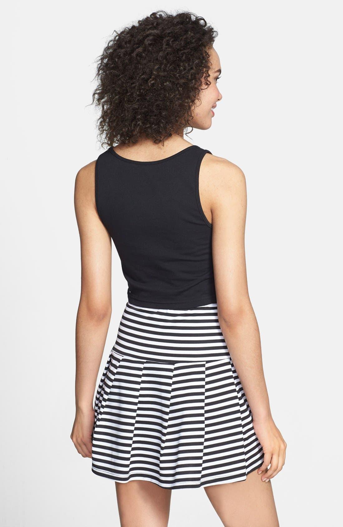 Alternate Image 2  - Lily White Stripe Pleat Skirt (Juniors)