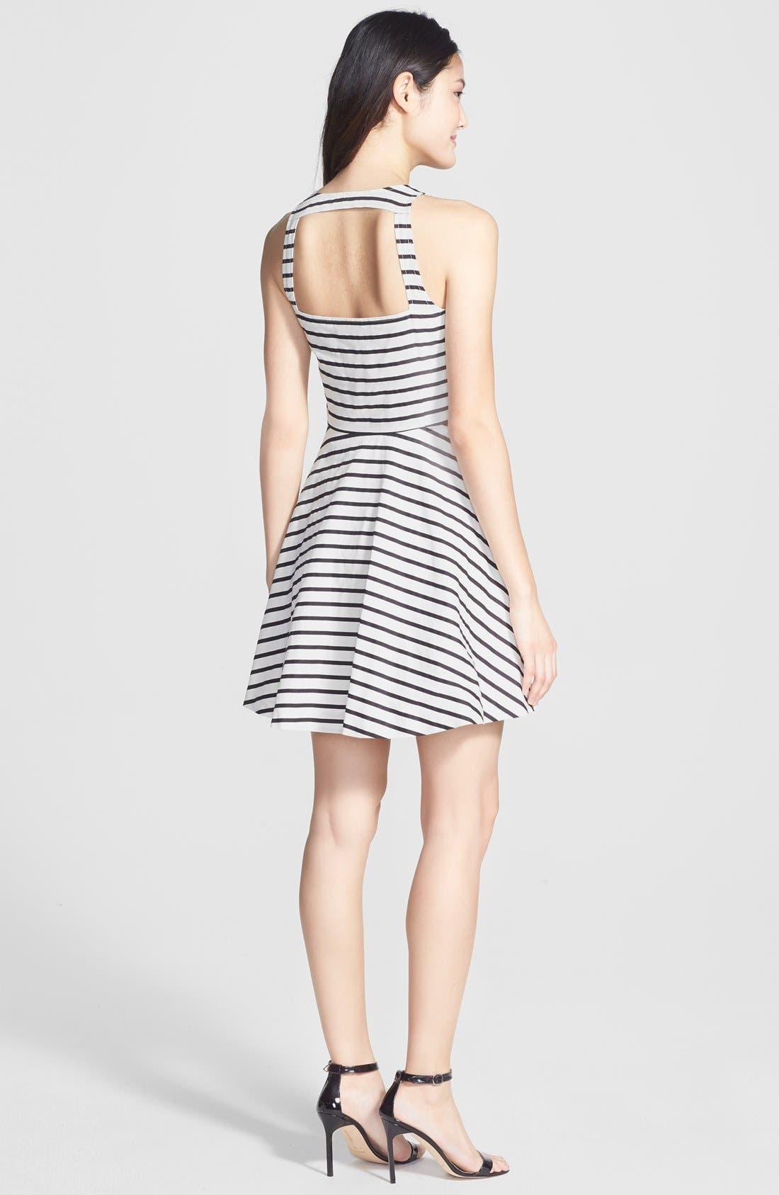 Back Cutout Stripe Cotton Sateen Fit & Flare Dress,                             Alternate thumbnail 2, color,                             Black/ White