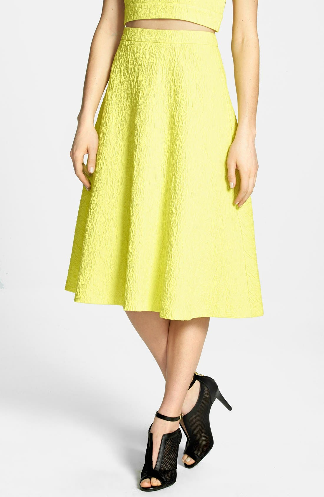 JOA Textured A-Line Midi Skirt,                             Main thumbnail 1, color,                             Lemon