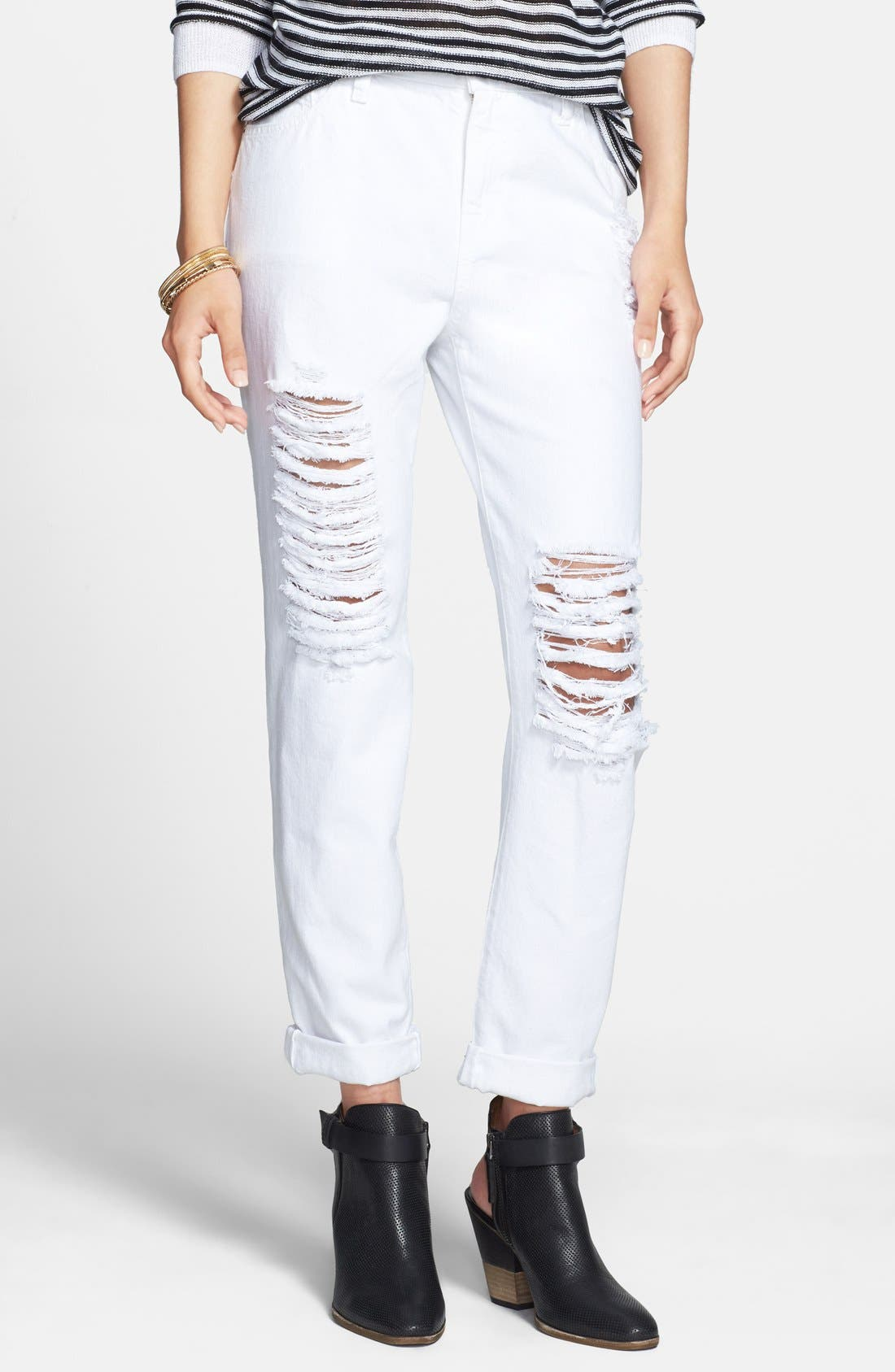 Alternate Image 1 Selected - SP Black Shredded Boyfriend Jeans (White) (Juniors)