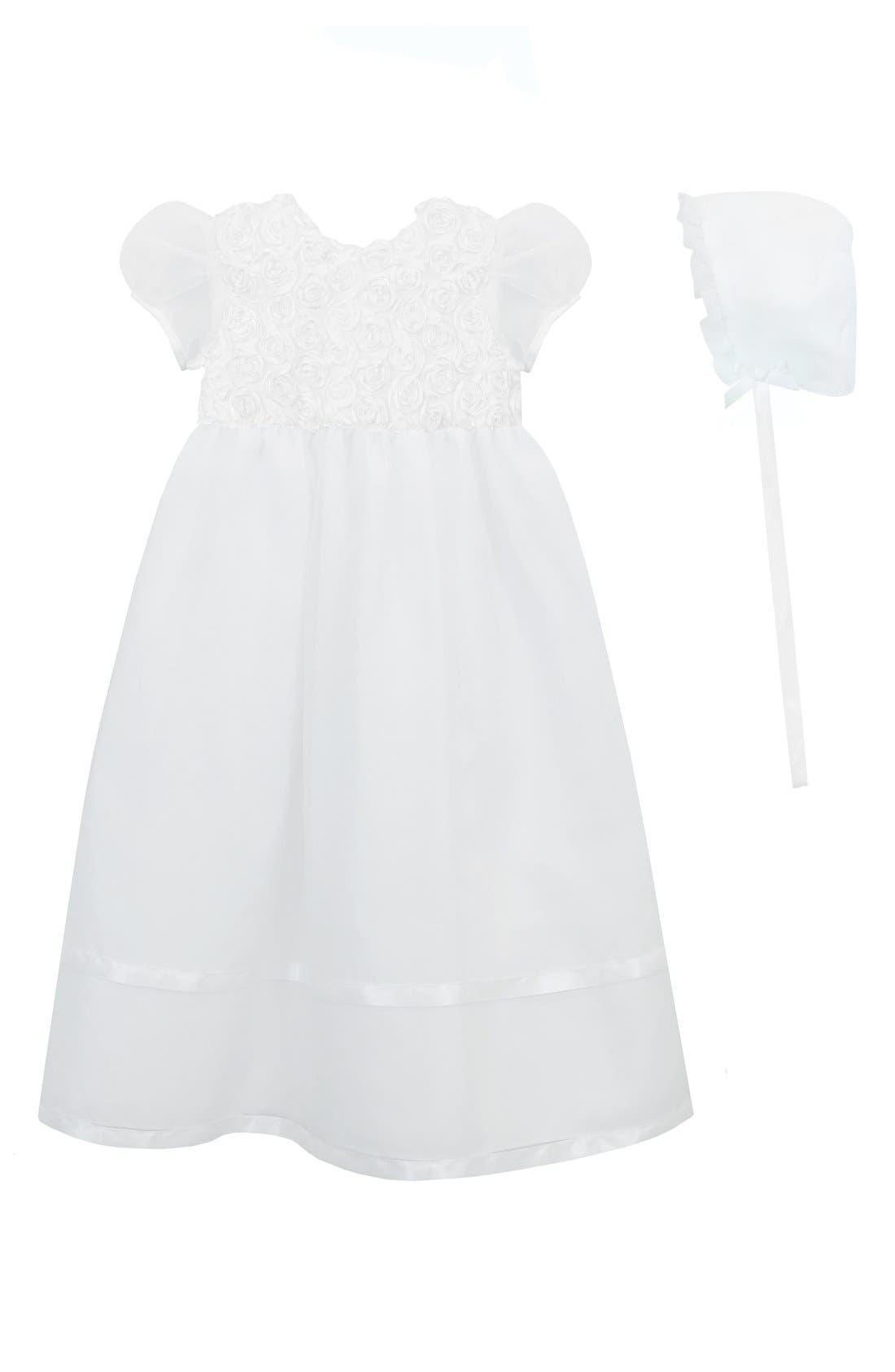 Christening Gown & Bonnet,                         Main,                         color, White