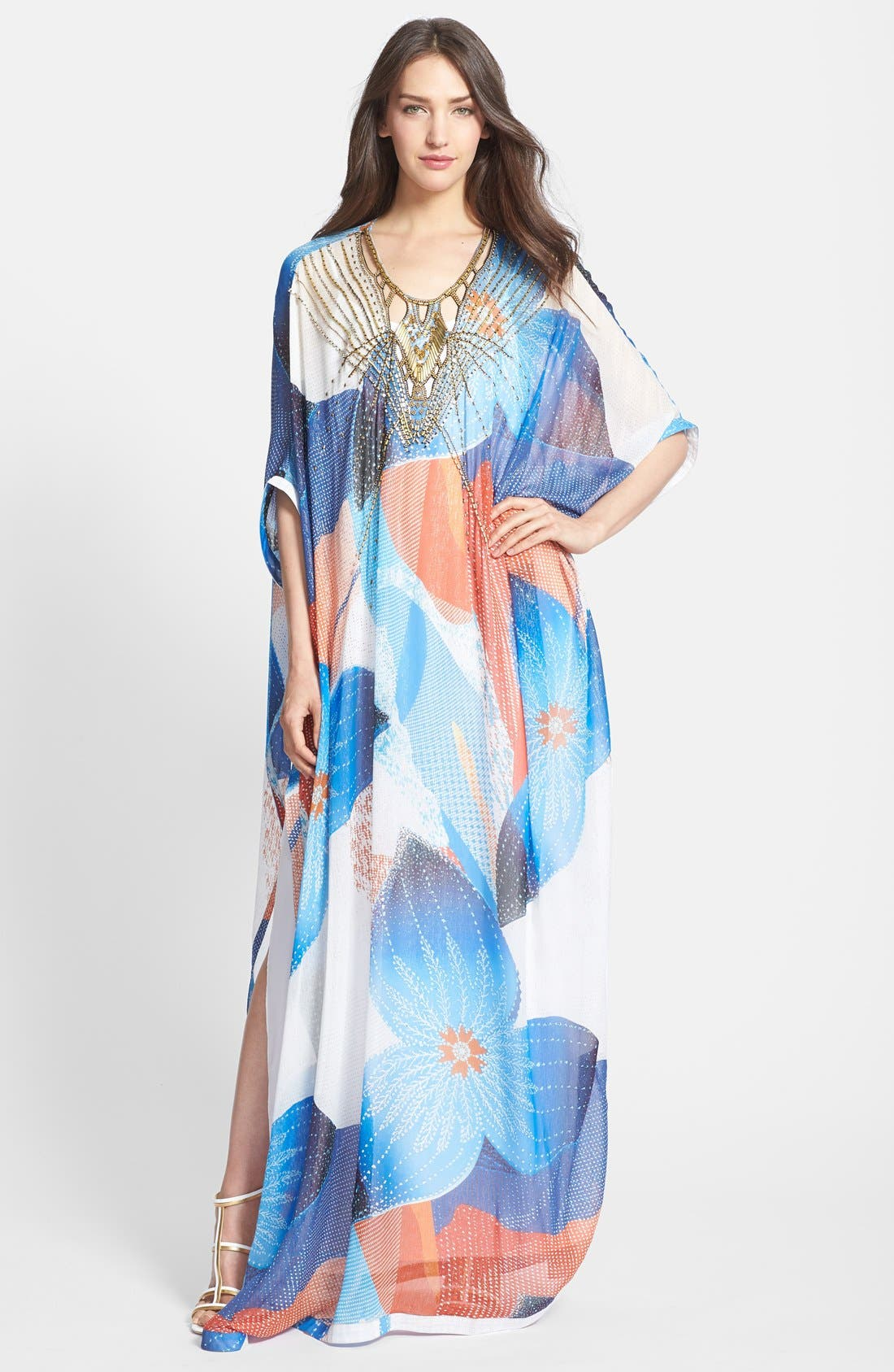 Alternate Image 1 Selected - Diane von Furstenberg 'Clare' Beaded Print Silk Blend Caftan