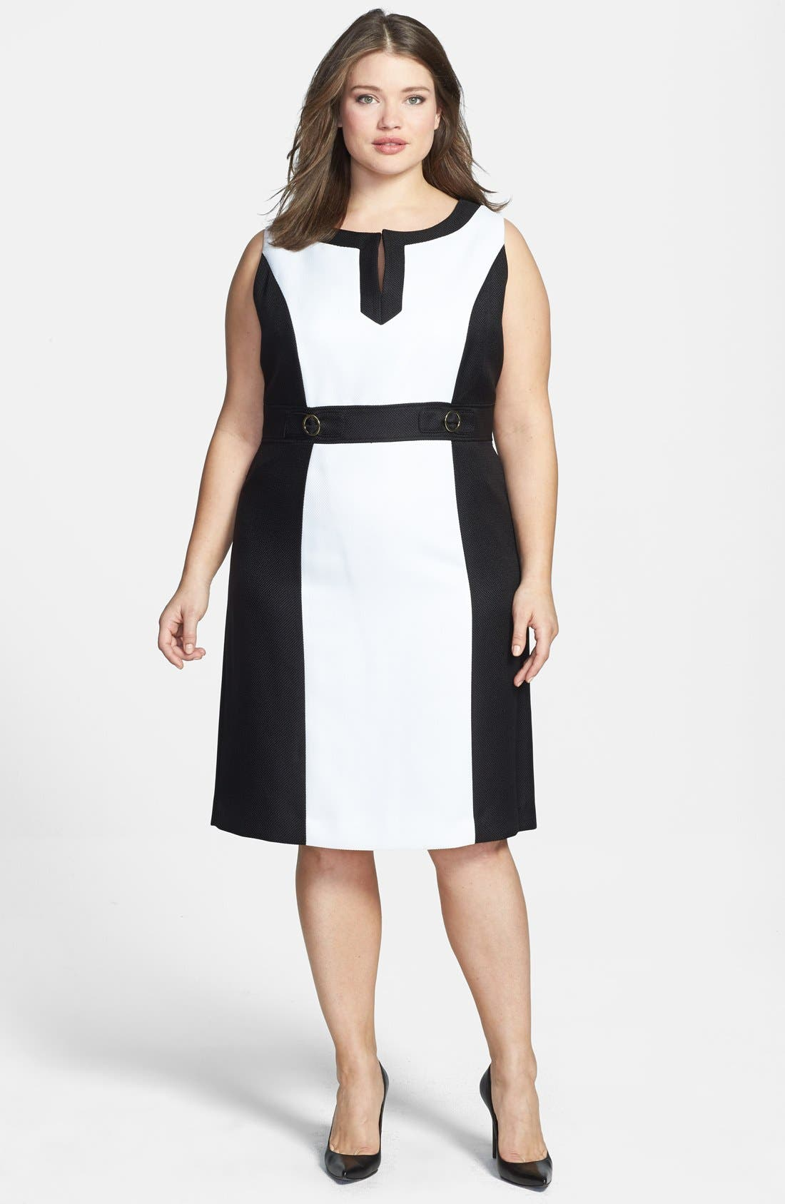 Alternate Image 1 Selected - Tahari by ASL Colorblock Split V-Neck Sheath Dress (Plus Size)