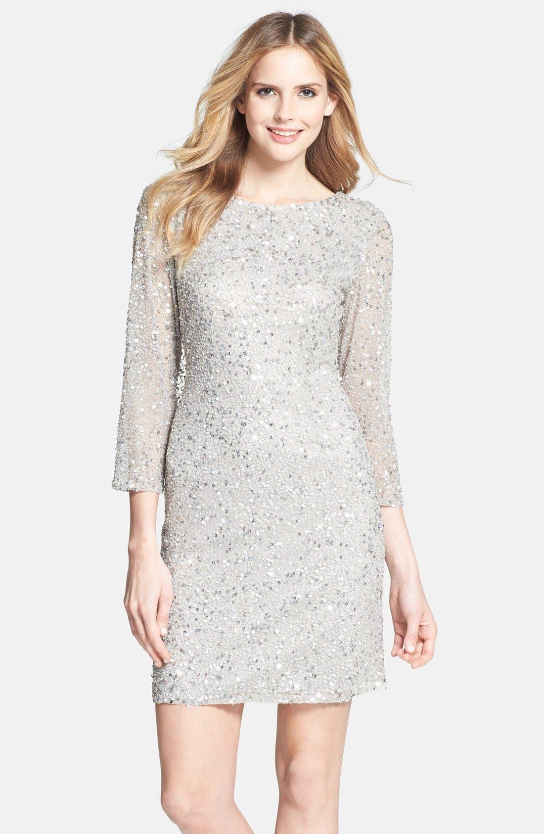 Cowl Back Sequin & Bead Dress,                             Main thumbnail 1, color,                             Silver