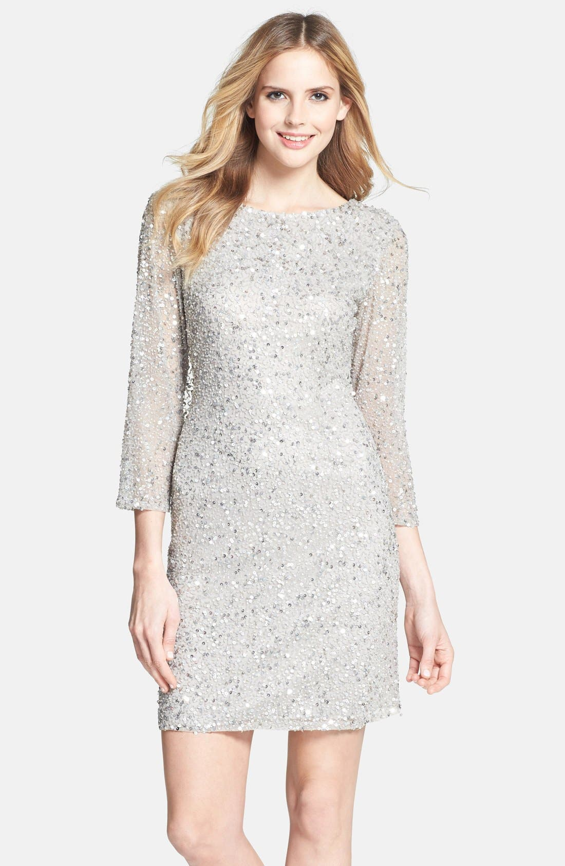 Cowl Back Sequin & Bead Dress,                         Main,                         color, Silver