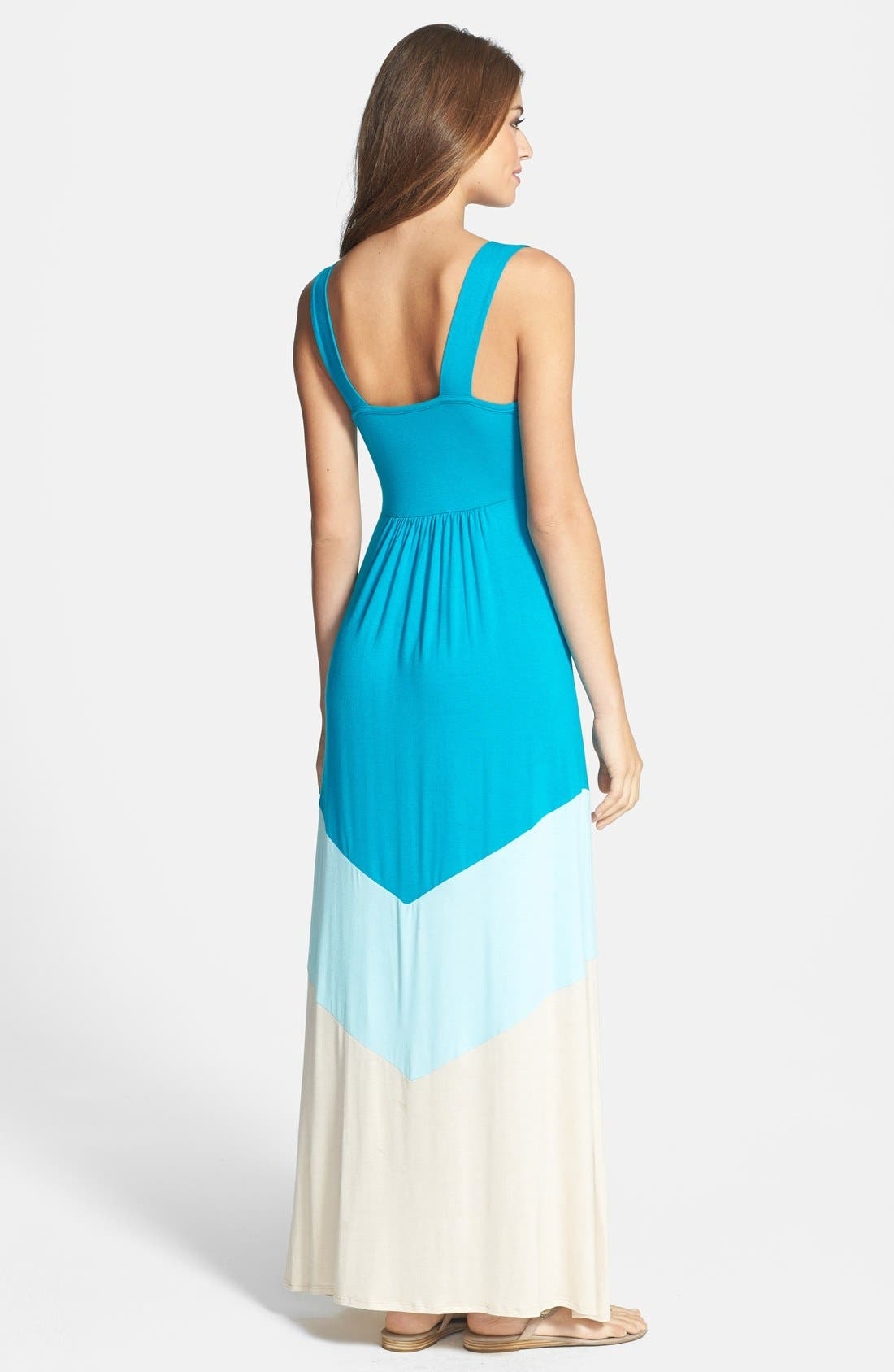 Alternate Image 2  - Loveappella Colorblock V-Neck Maxi Dress