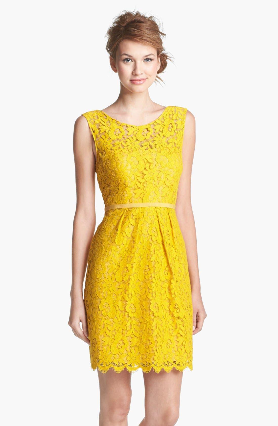 Harlow Tea Lace Sheath Dress,                         Main,                         color, Mustard