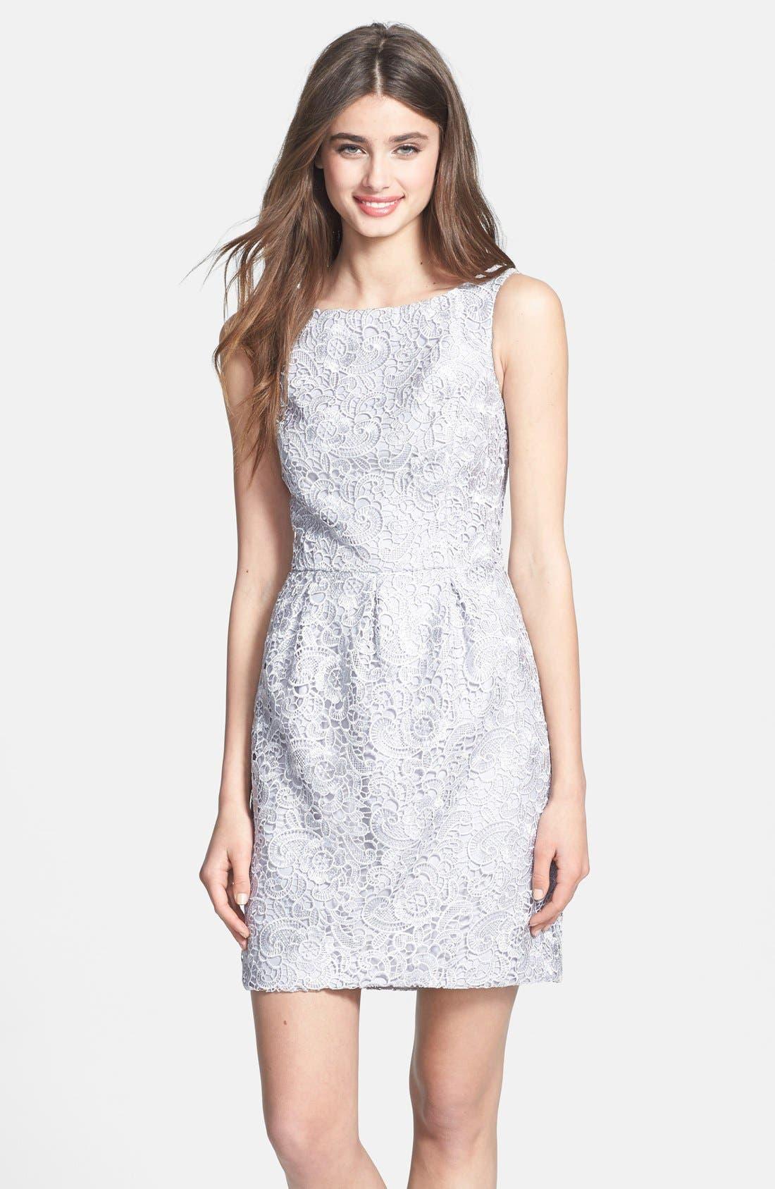 Main Image - Aidan Mattox Lace Sheath Dress (Online Only)