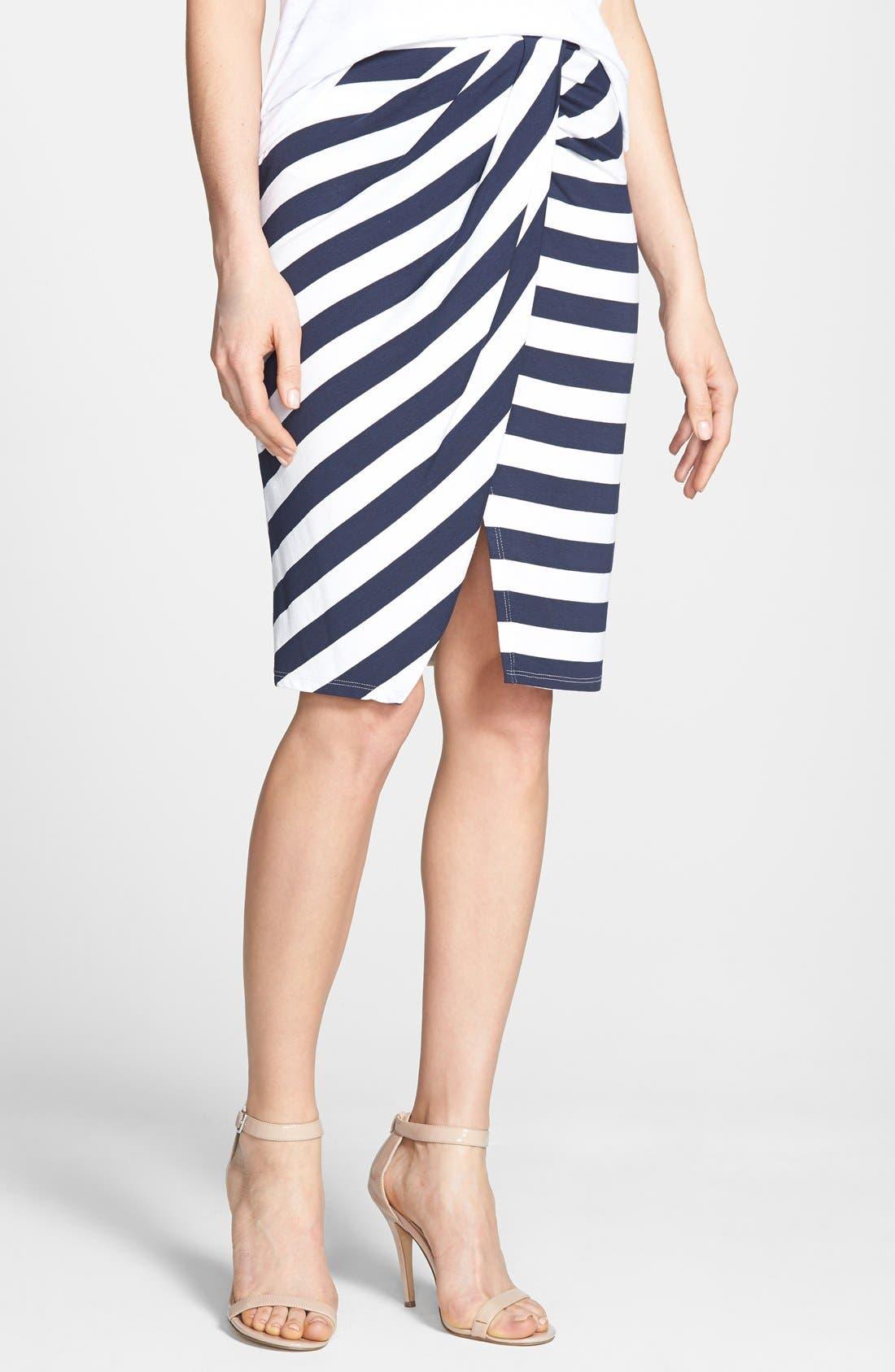 Alternate Image 1 Selected - Ella Moss 'Isla' Stripe Wrap Front Skirt