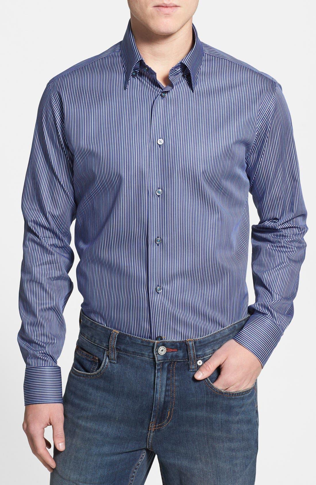 Alternate Image 1 Selected - Robert Talbott Trim Fit Stripe Woven Sport Shirt