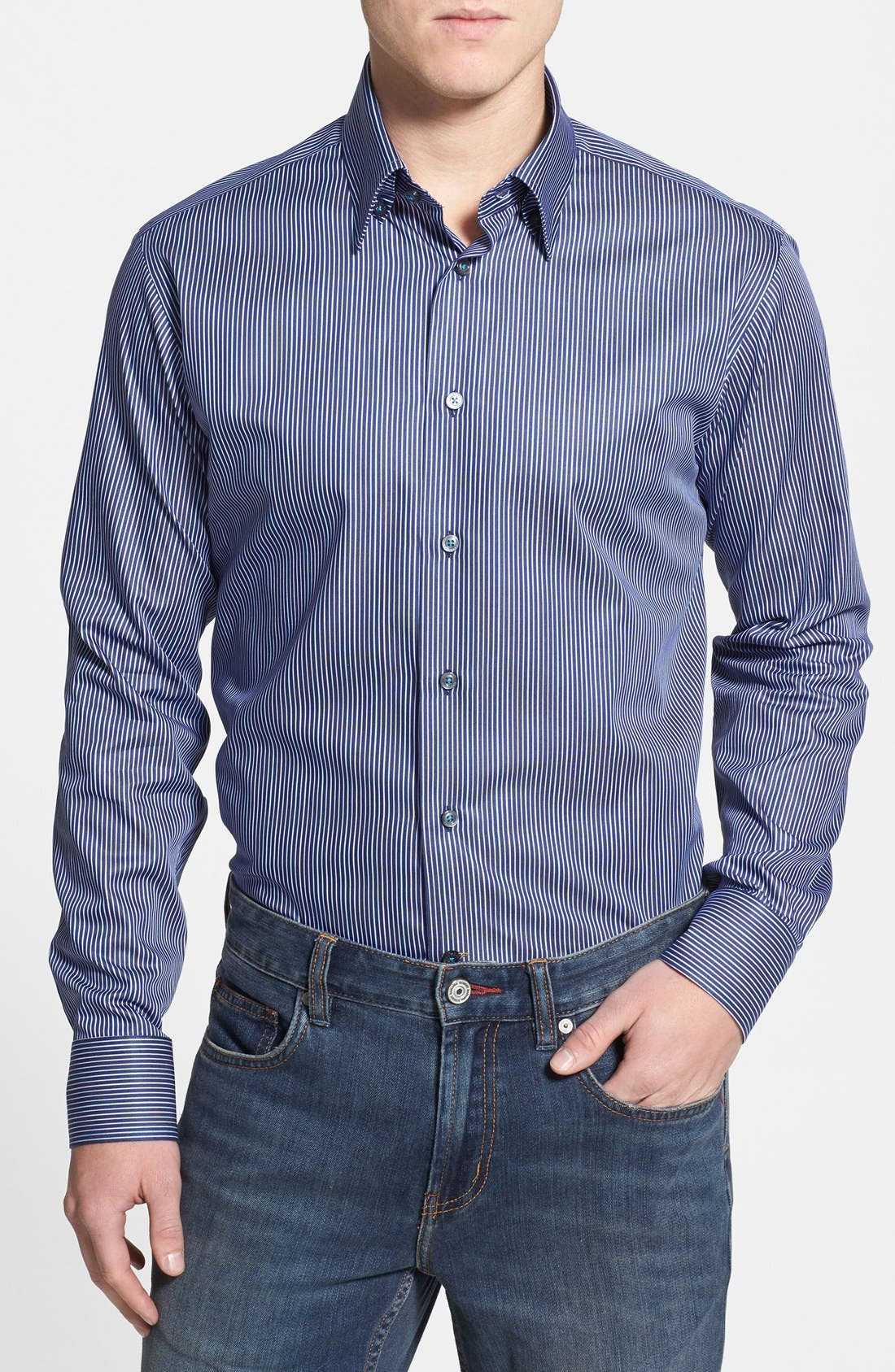 Main Image - Robert Talbott Trim Fit Stripe Woven Sport Shirt