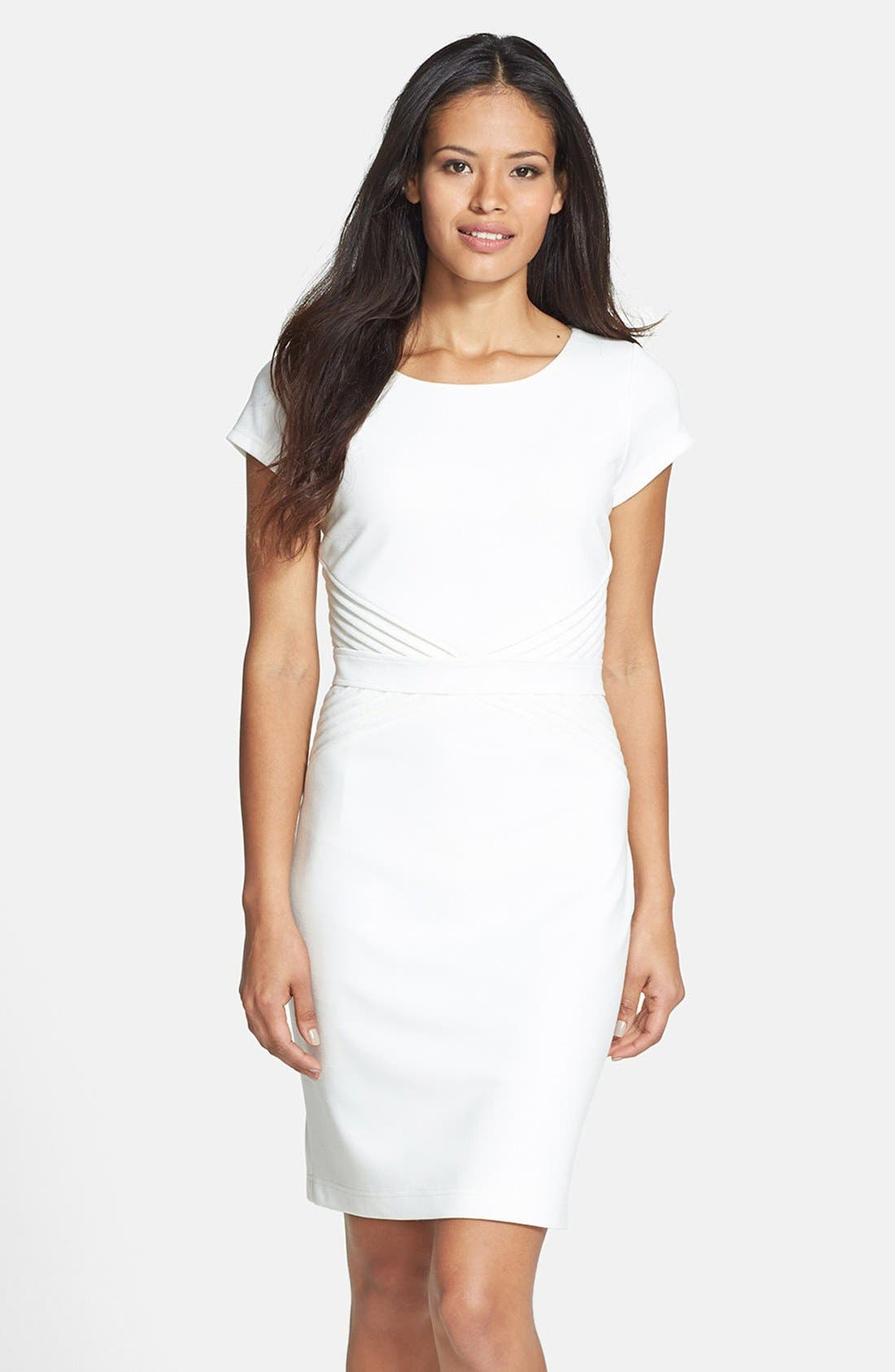 Main Image - Ellen Tracy Pleated Waist Ponte Sheath Dress