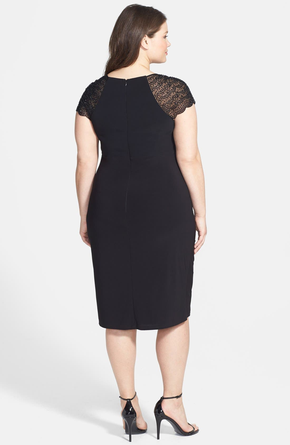 Alternate Image 2  - Betsy & Adam Embellished Cap Sleeve Cocktail Dress (Plus Size)