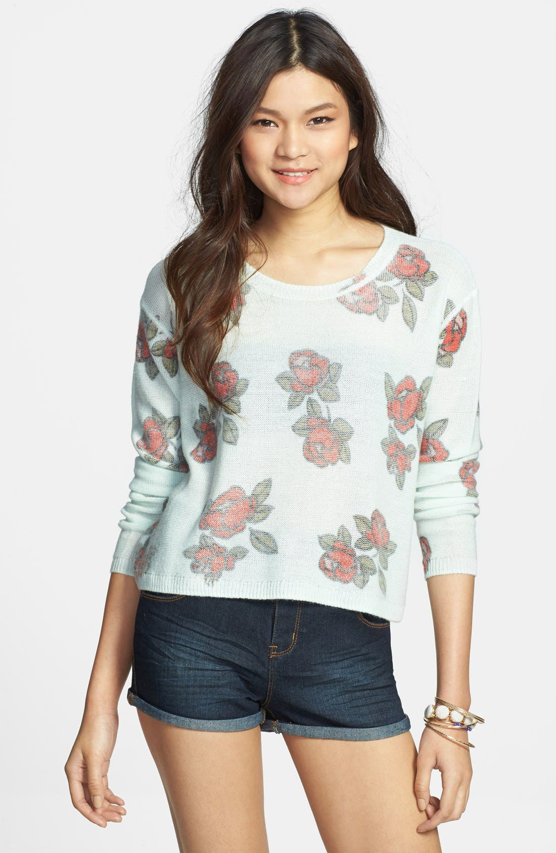 Alternate Image 1 Selected - Frenchi® Floral Print Crop Pullover (Juniors)