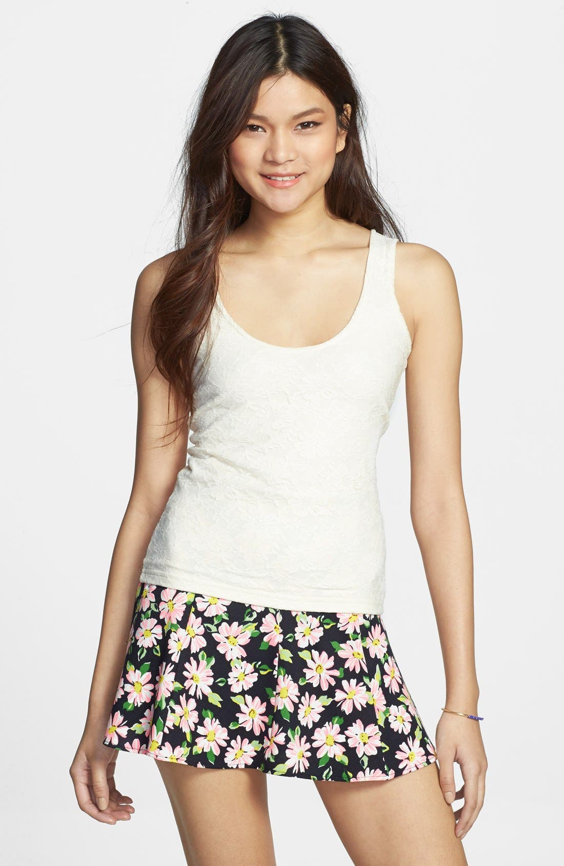 Main Image - Frenchi® Scoop Neck Lace Tank (Juniors)