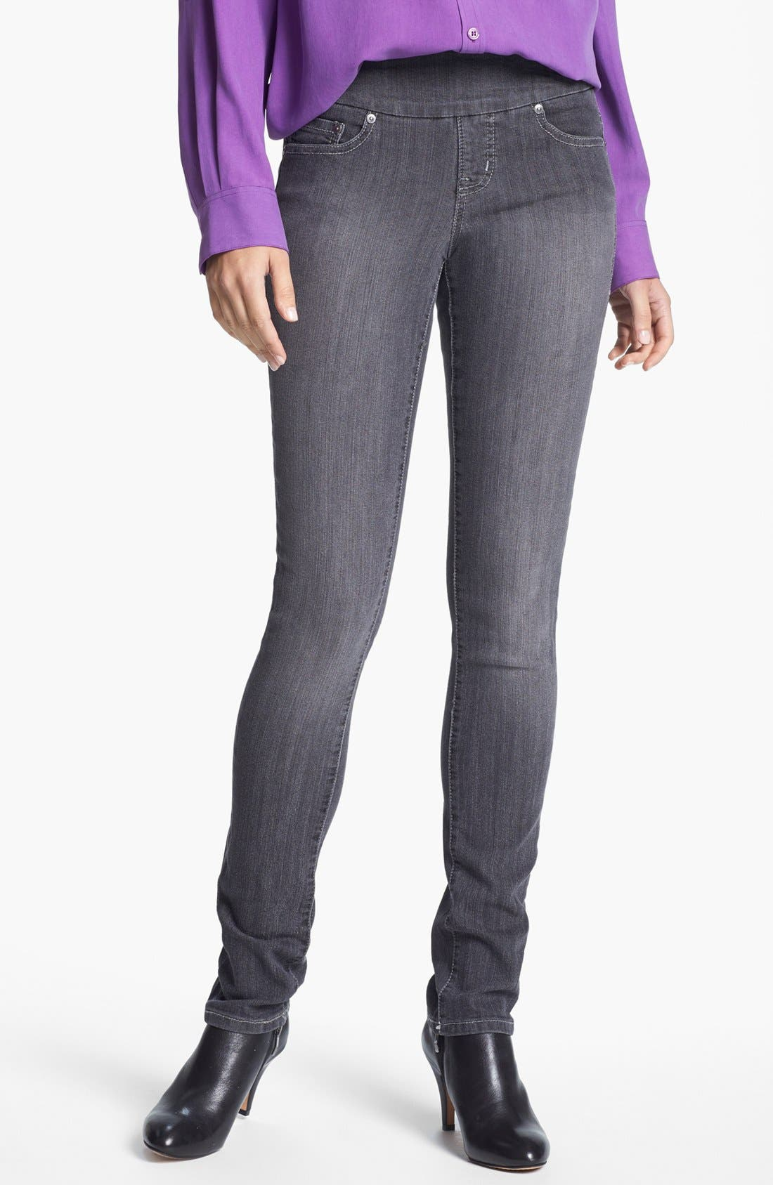 Alternate Image 1 Selected - Jag Jeans 'Malia' Slim Leg Stretch Jeans (Grey) (Petite)
