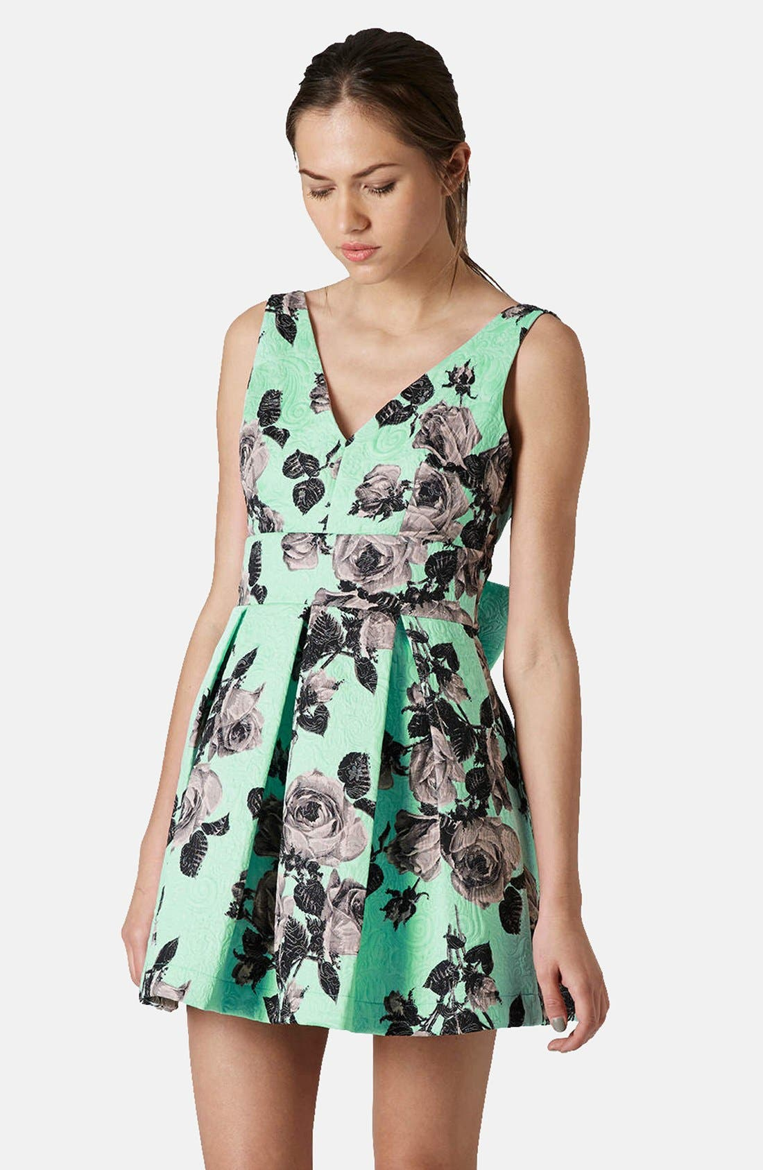 Alternate Image 1 Selected - Topshop Floral Print Fit & Flare Dress