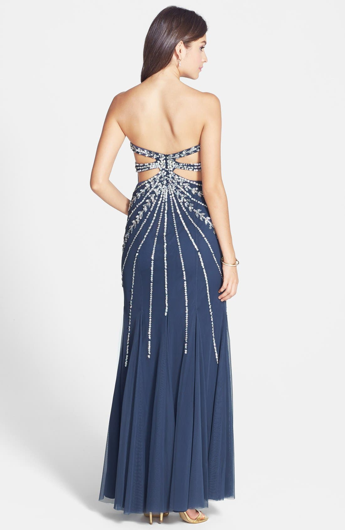 Alternate Image 2  - Sean Collection Embellished Strapless Mesh Gown