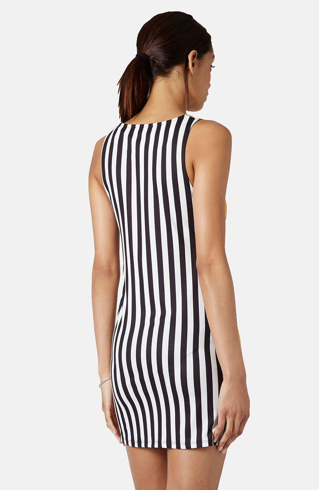 Alternate Image 2  - Topshop Lemon Stripe Print Body-Con Dress