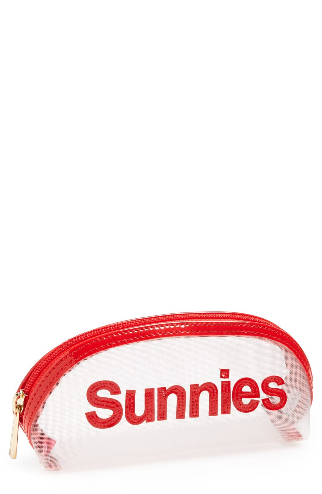 Mesh Sunglasses Pouch,                         Main,                         color, White/ Red