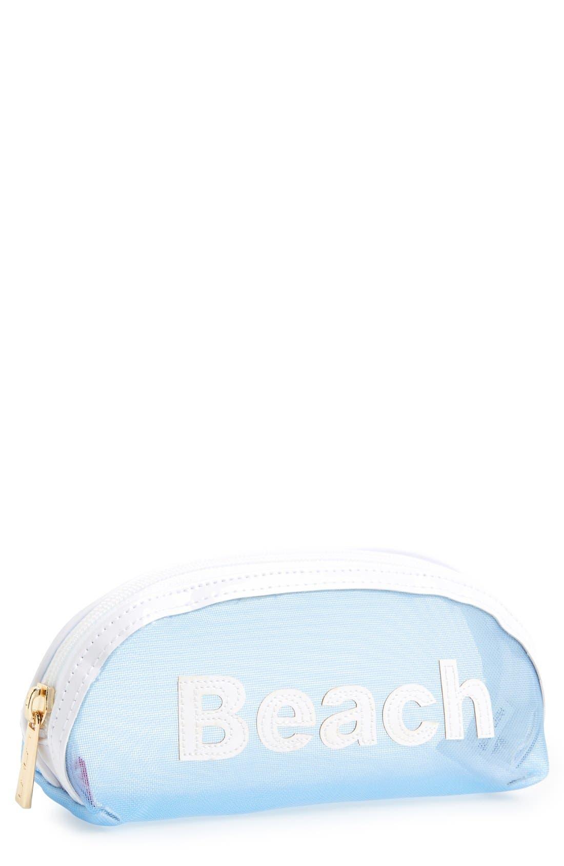 Mesh Sunglasses Pouch,                         Main,                         color, Blue/ White