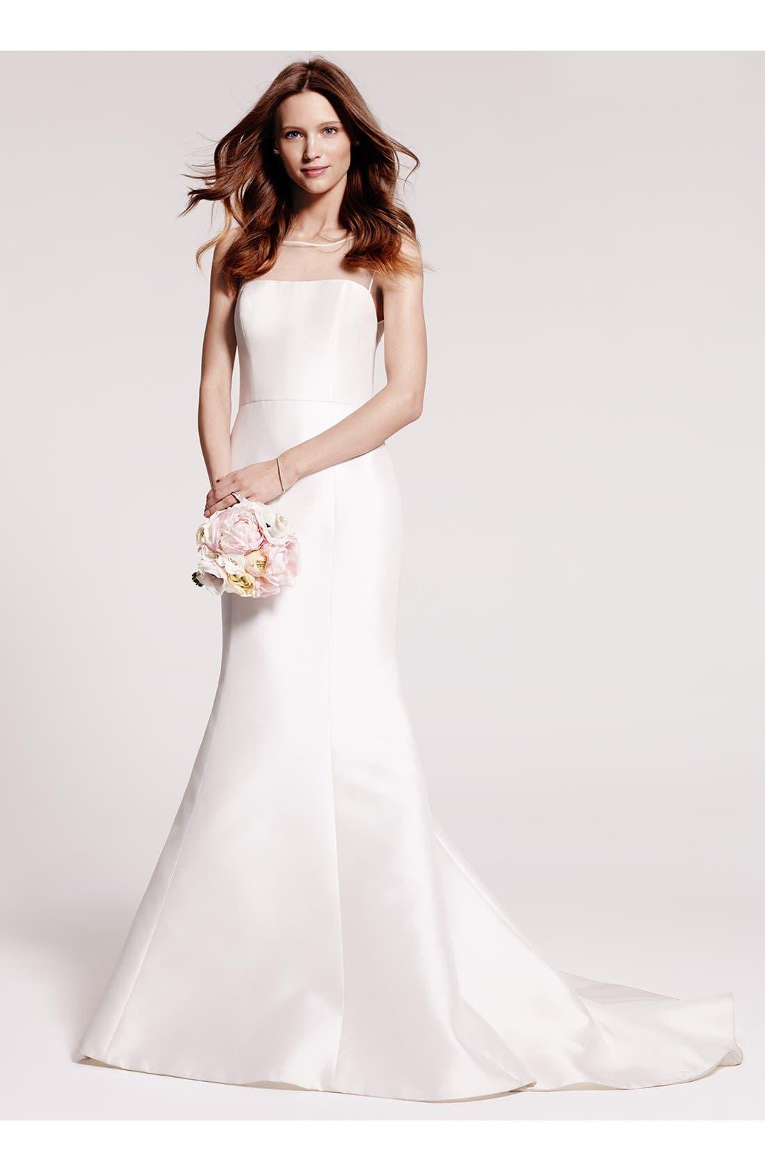 Alternate Image 6  - Amsale Preston Silk Magnolia Sheath Wedding Dress