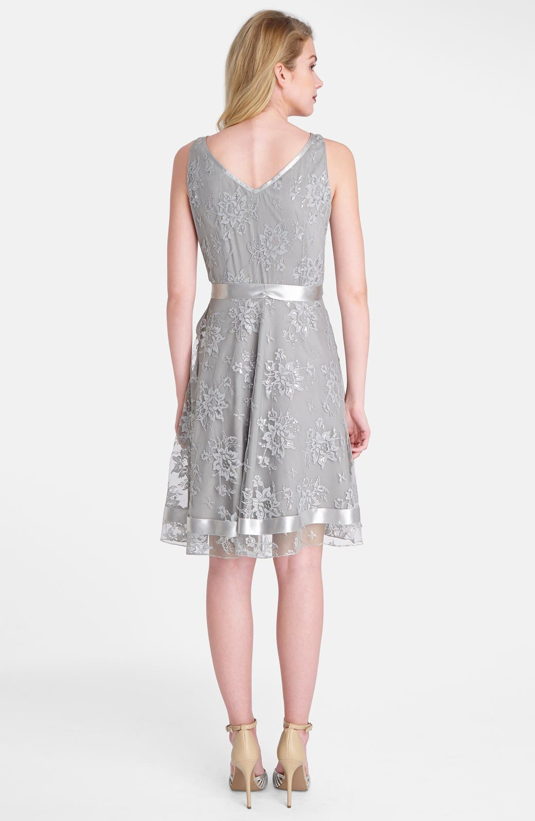 Alternate Image 2  - Tahari Metallic Lace Fit & Flare Dress