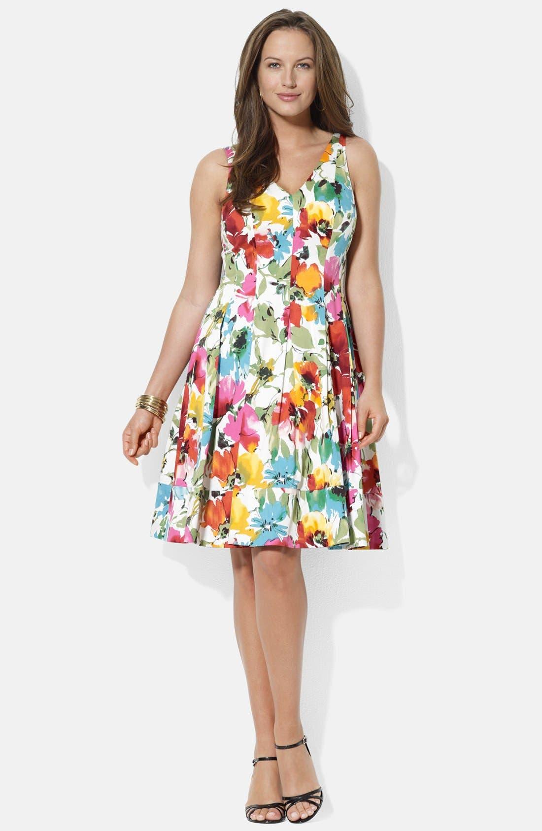 Alternate Image 1 Selected - Lauren Ralph Lauren V-Neck Floral Print Sundress (Plus Size)