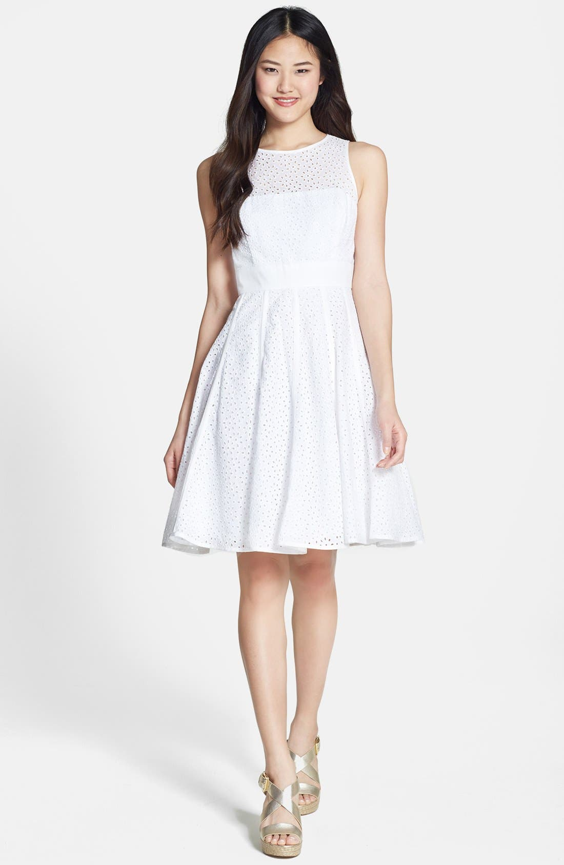 Alternate Image 2  - Eliza J Eyelet Fit & Flare Dress