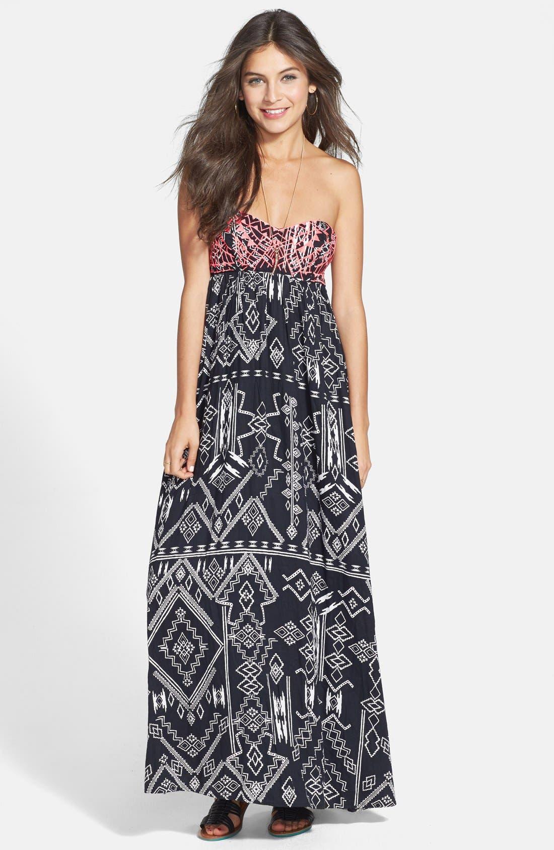 Alternate Image 1 Selected - Billabong 'Dreamed of You' Print Bandeau Maxi Dress (Juniors)