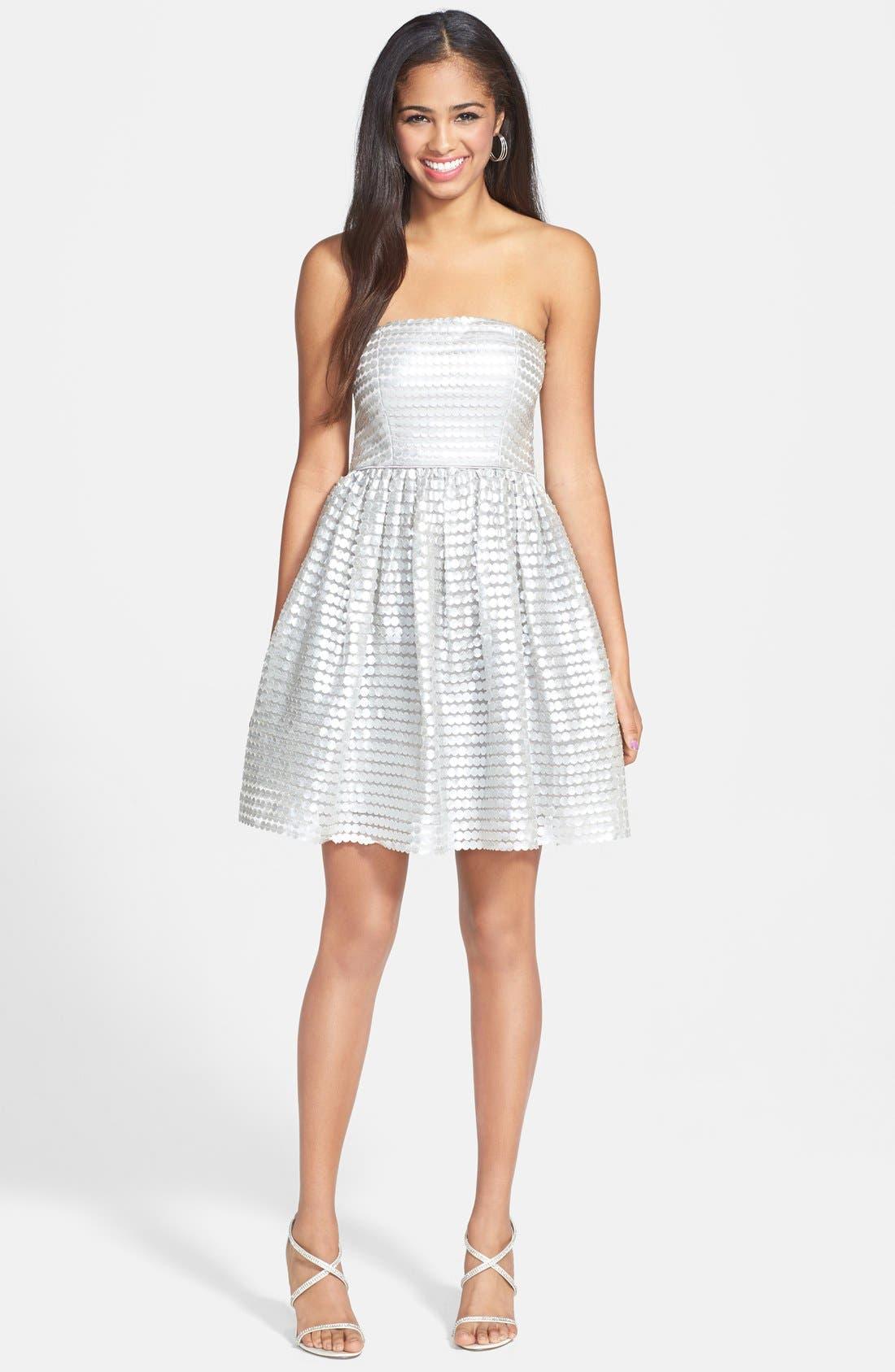 Main Image - a. drea Metallic Textured Strapless Fit & Flare Dress (Juniors)