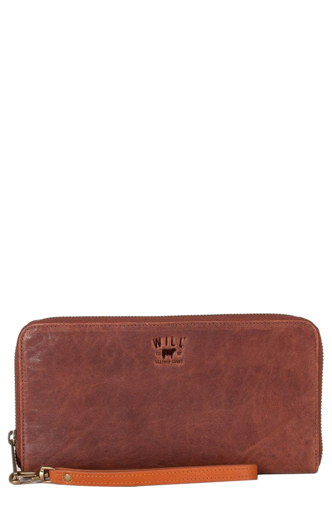 'Imogen' Washed Italian Lambskin Leather Checkbook Clutch,                             Main thumbnail 1, color,                             Cognac
