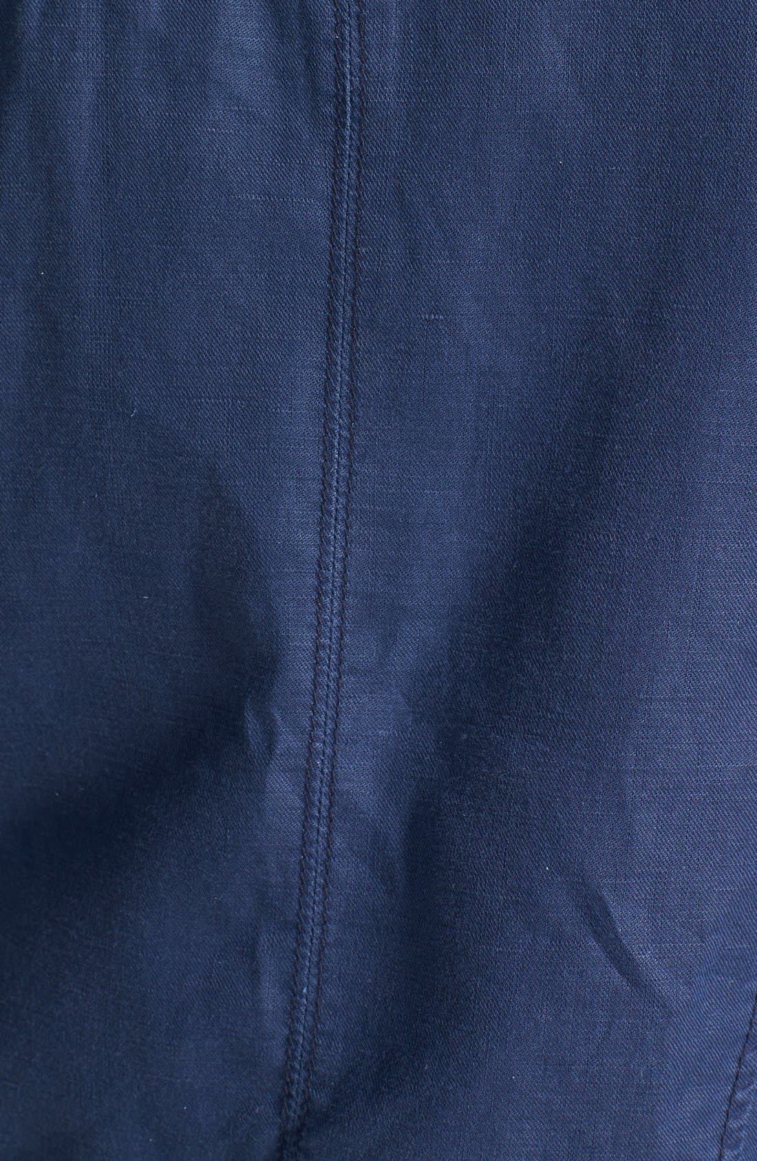 Faux Leather & Linen Blend Moto Jacket,                             Alternate thumbnail 3, color,                             Indigo
