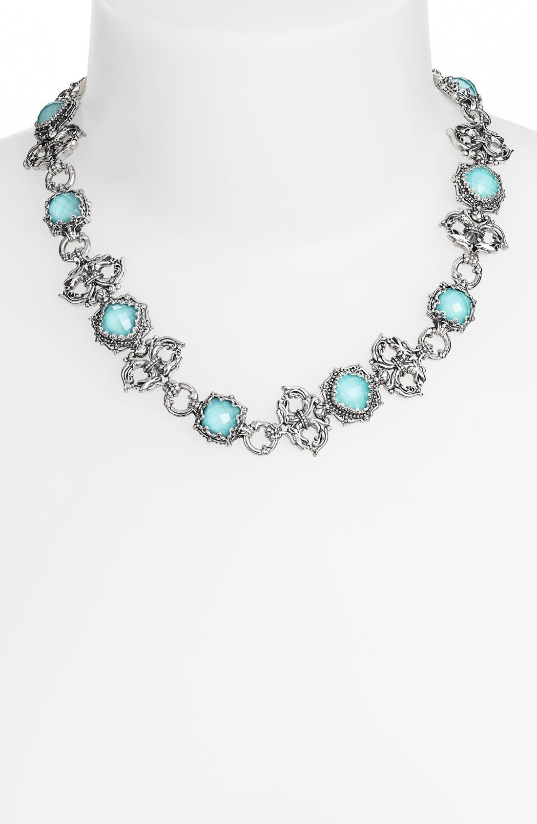 'Aegean' Collar Necklace,                         Main,                         color, Silver/ Turquoise