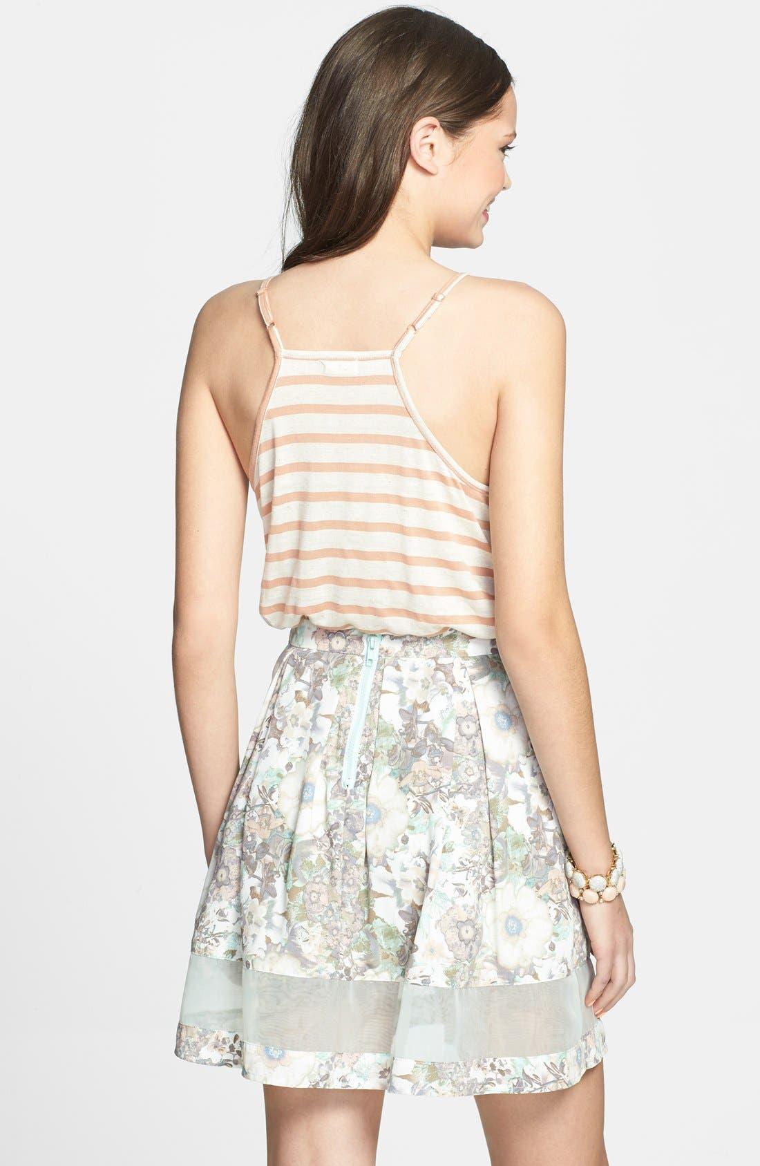 Alternate Image 2  - BCNU Floral Print Organza Inset Pleat Skirt (Juniors)