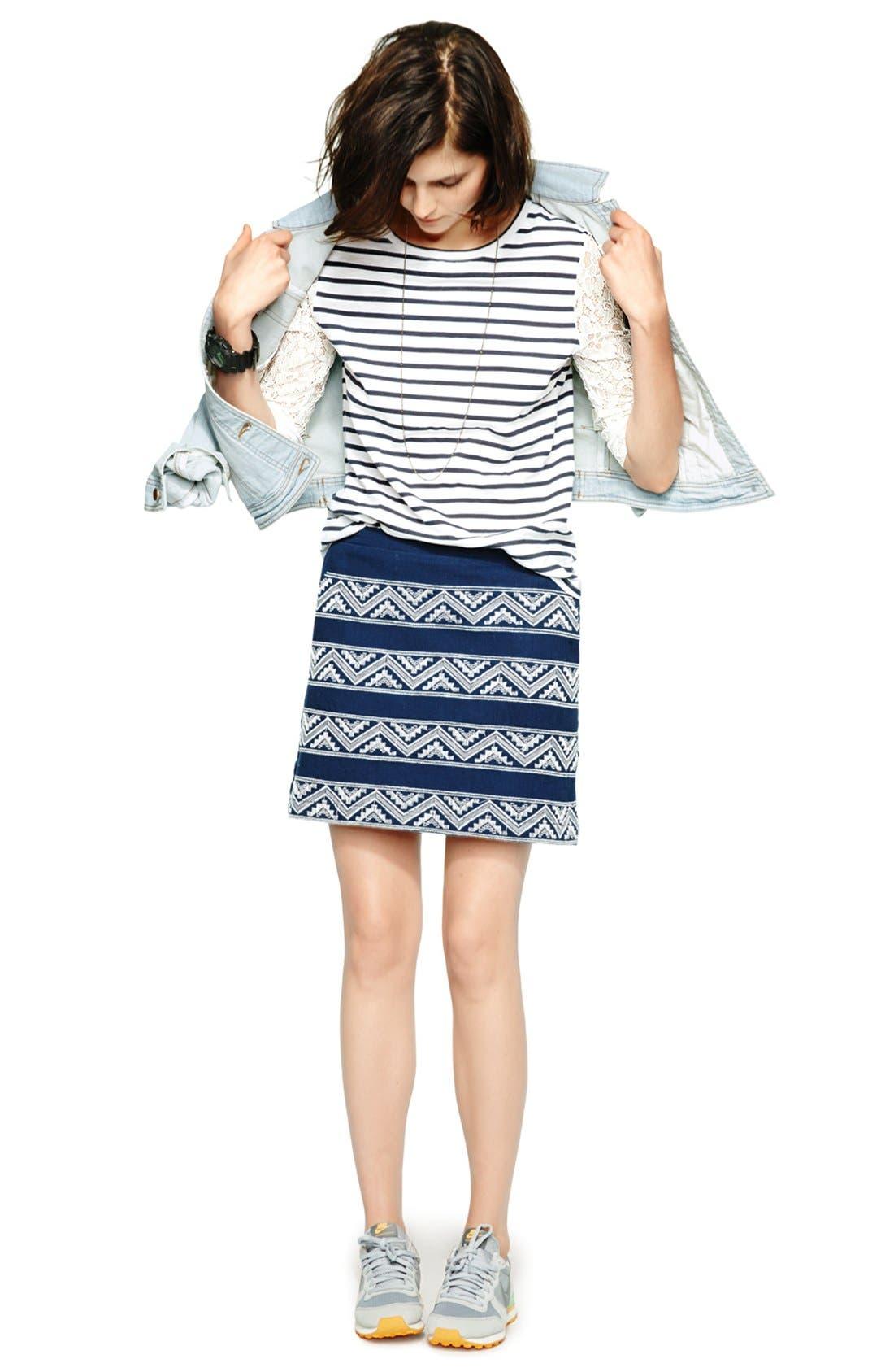 Alternate Image 4  - Hinge® Embroidered A-Line Skirt