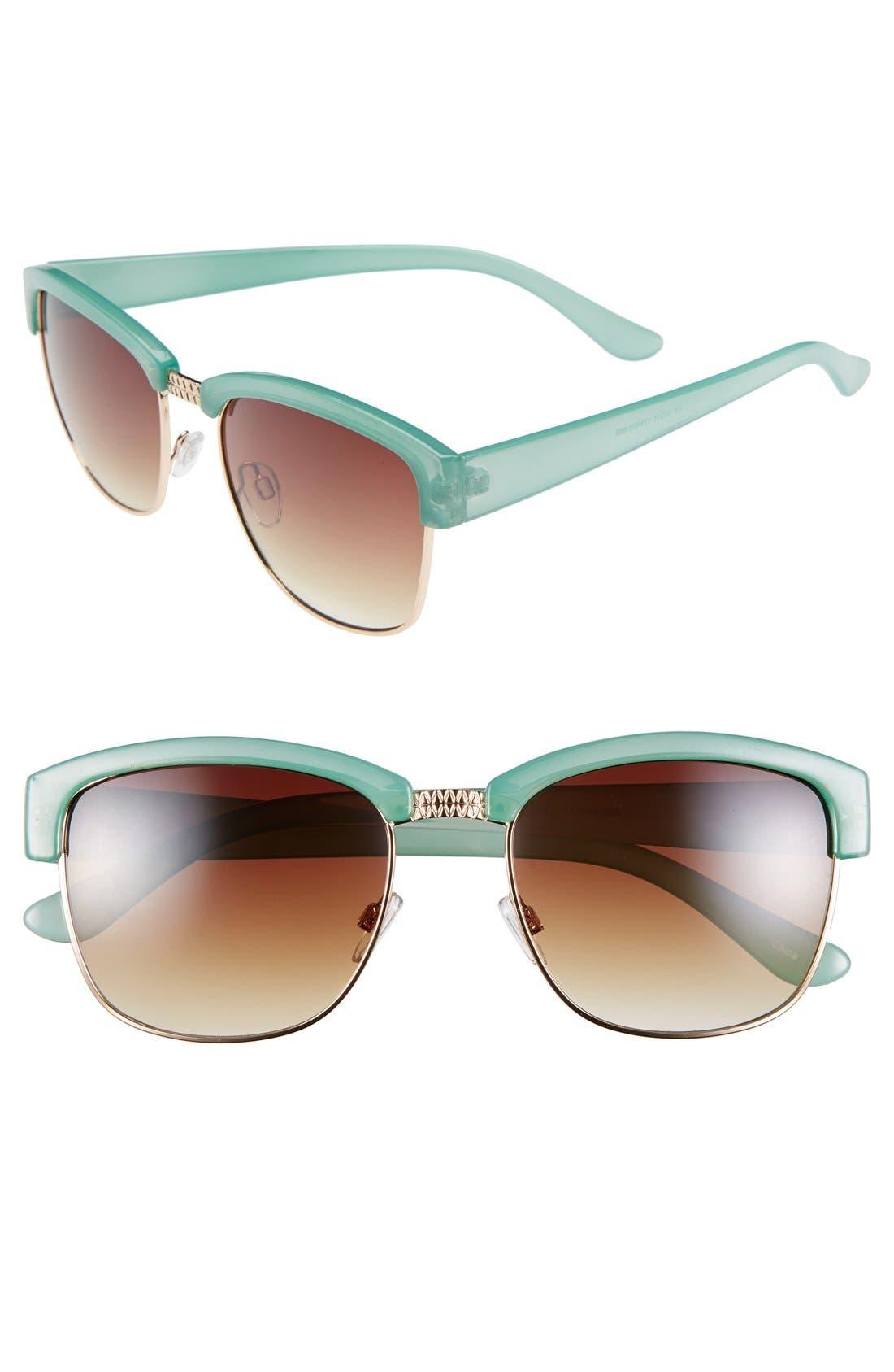 60mm Retro Sunglasses,                         Main,                         color, Gold/ Green