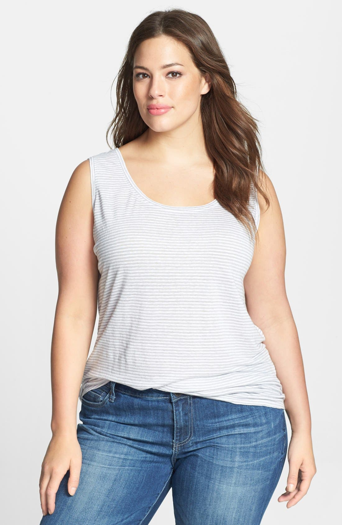 Alternate Image 1 Selected - Eileen Fisher Stripe Linen Tank (Plus Size)