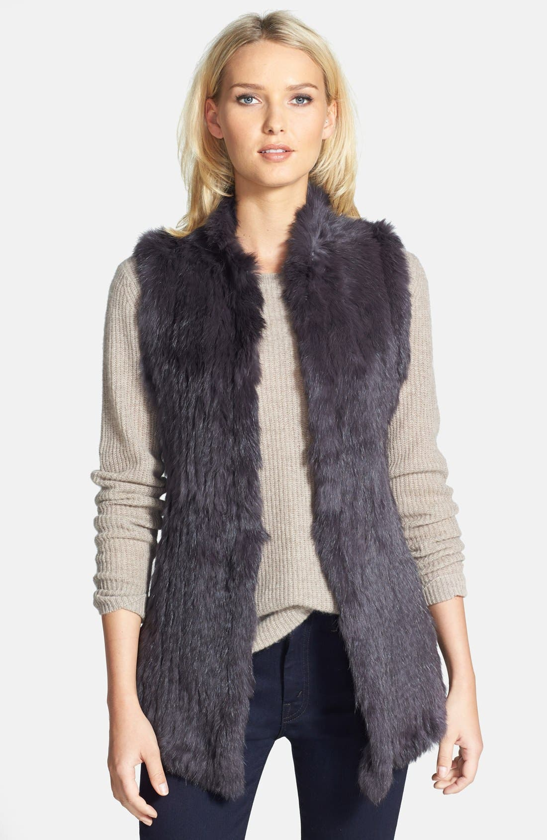 Genuine Rabbit Fur & Knit Vest,                         Main,                         color, Charcoal
