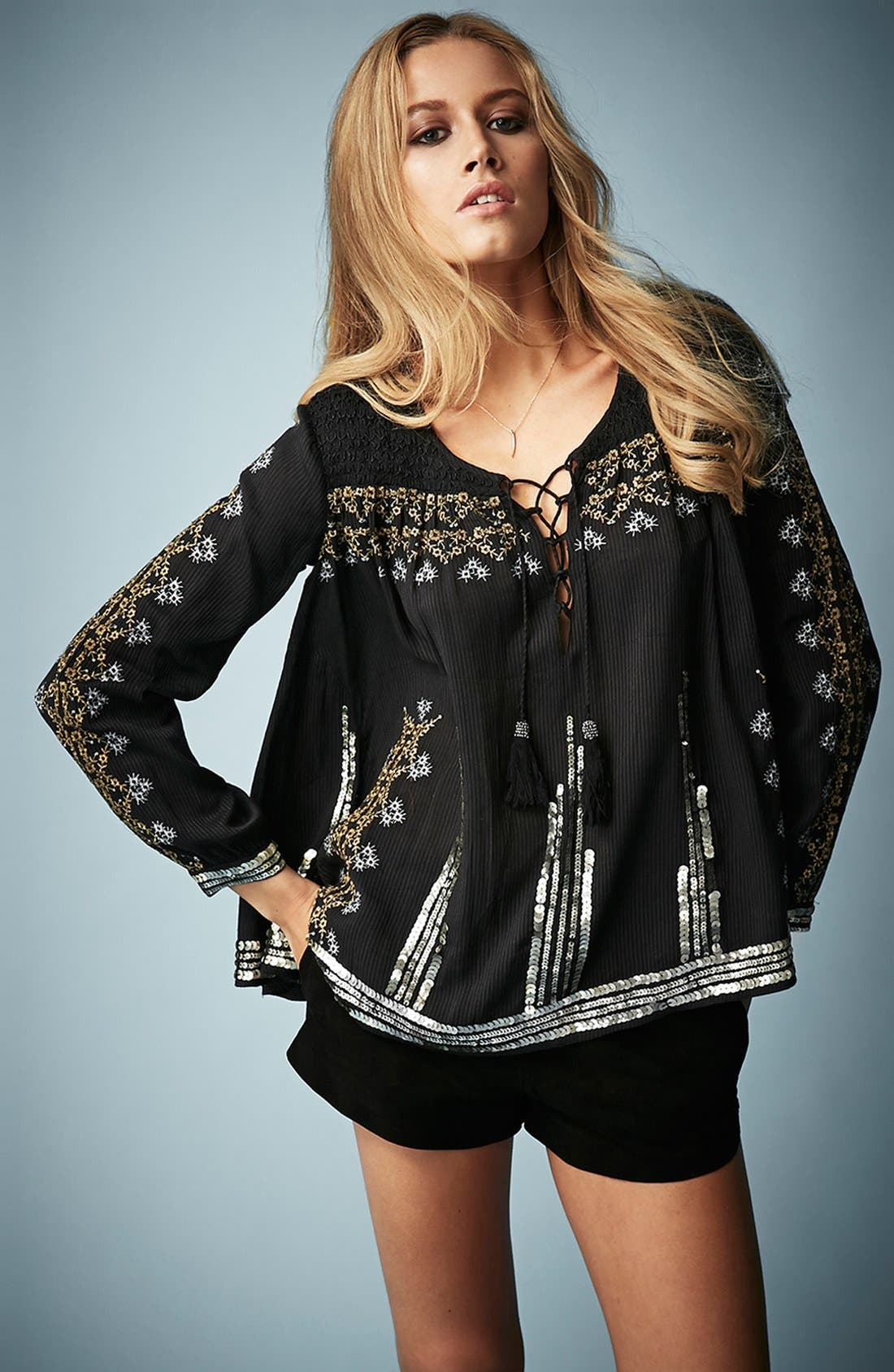 Main Image - Kate Moss for Topshop Folk Smocked Blouse